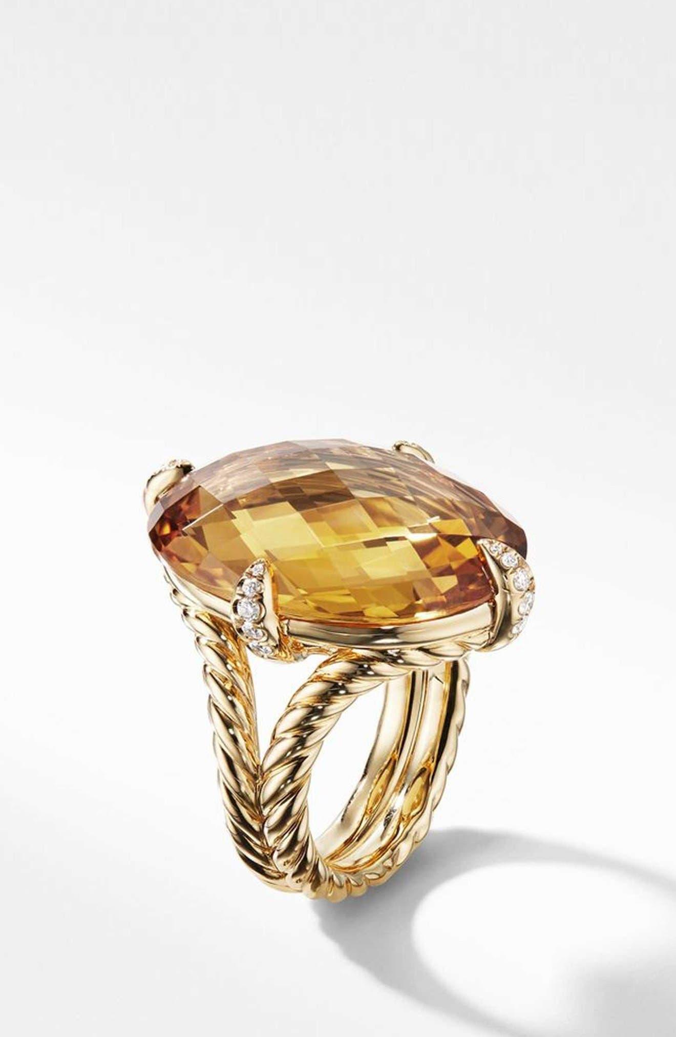 Chatelaine<sup>®</sup> 18k Gold Statement Ring with Honey Quartz & Diamonds,                             Alternate thumbnail 2, color,                             GOLD/ DIAMOND/ HONEY QUARTZ