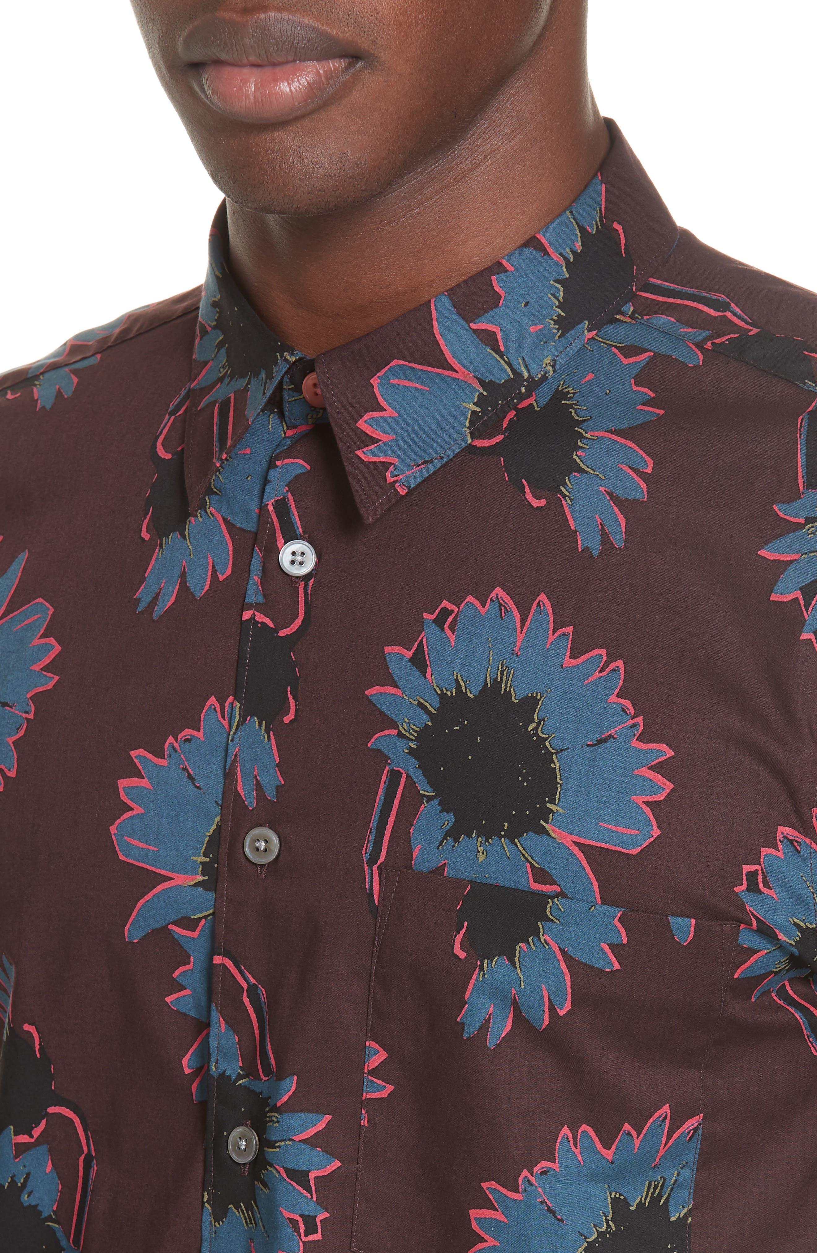 Flower Print Woven Shirt,                             Alternate thumbnail 2, color,                             BLUE