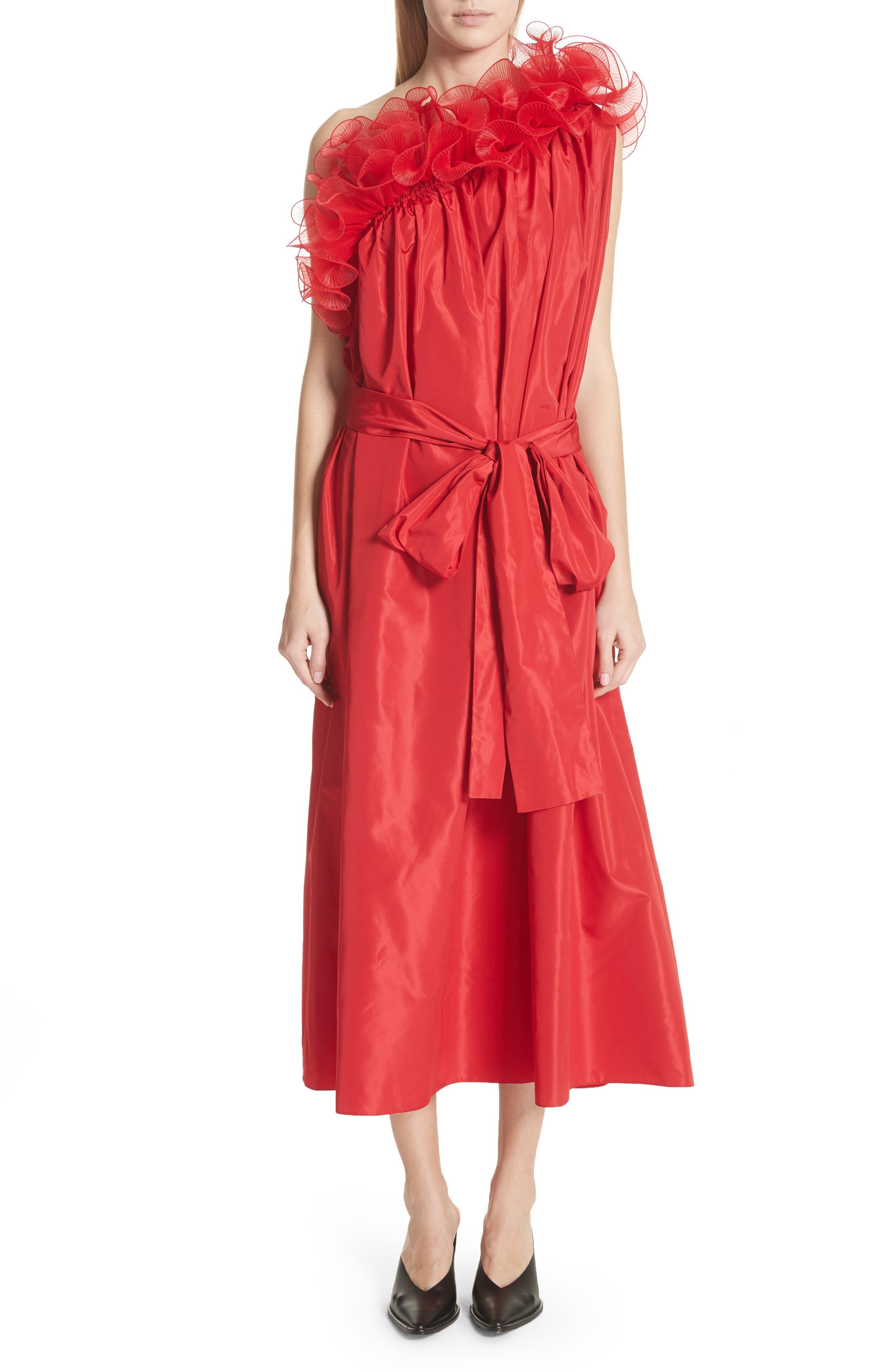 One-Shoulder Ruffle Taffeta Dress,                         Main,                         color,
