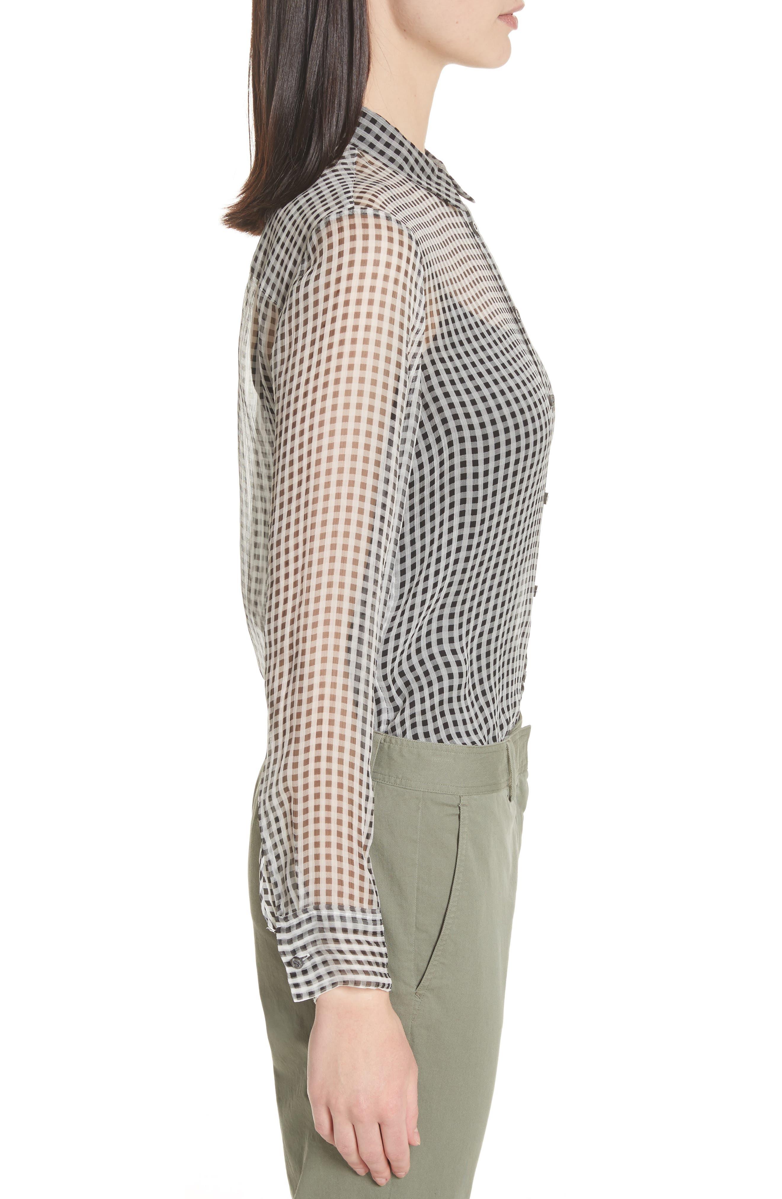 Check Silk Shirt,                             Alternate thumbnail 3, color,
