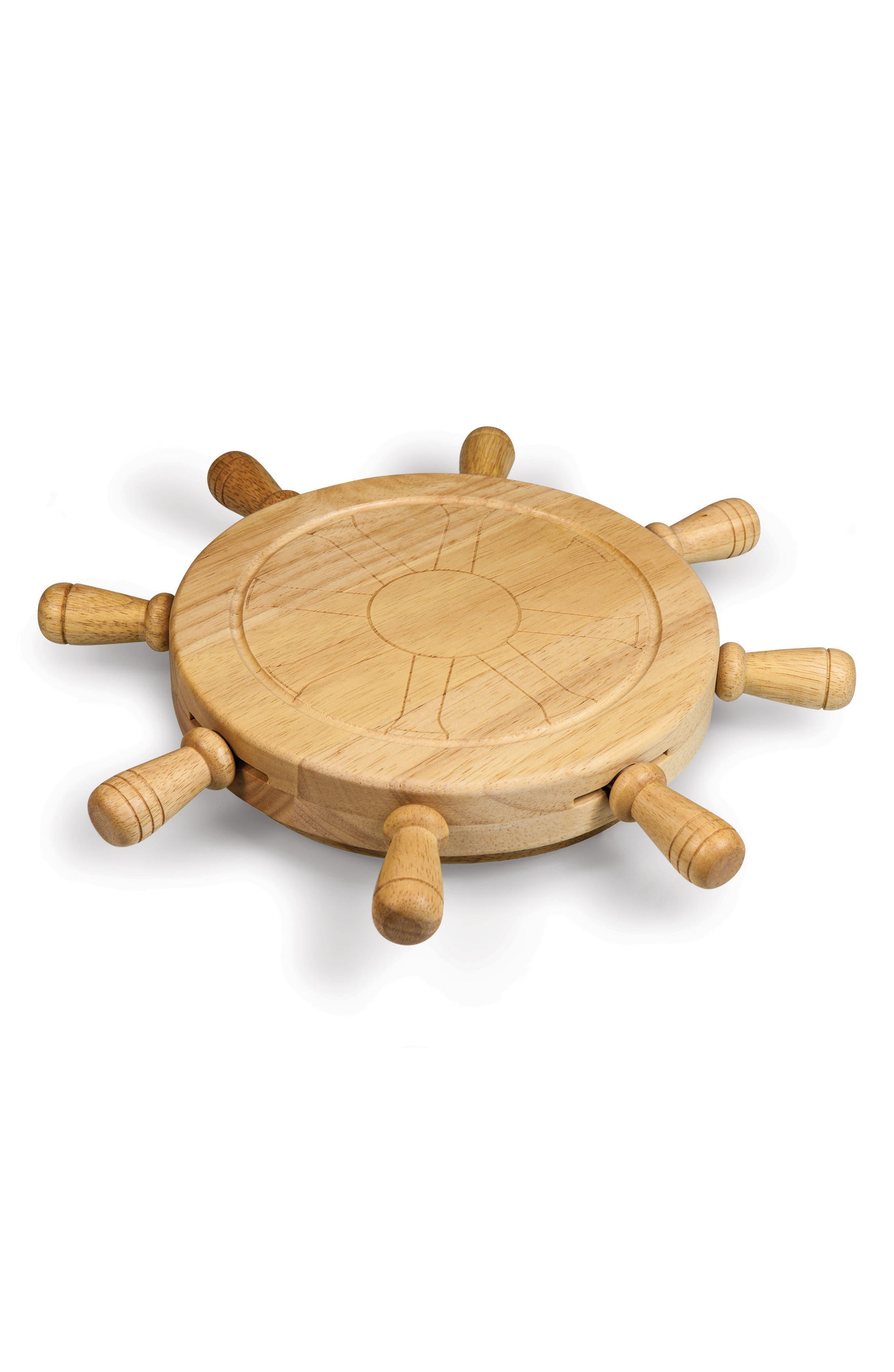 TOSCANA Mariner Ship Wheel Cutting Board & Cheese Tools, Main, color, BROWN