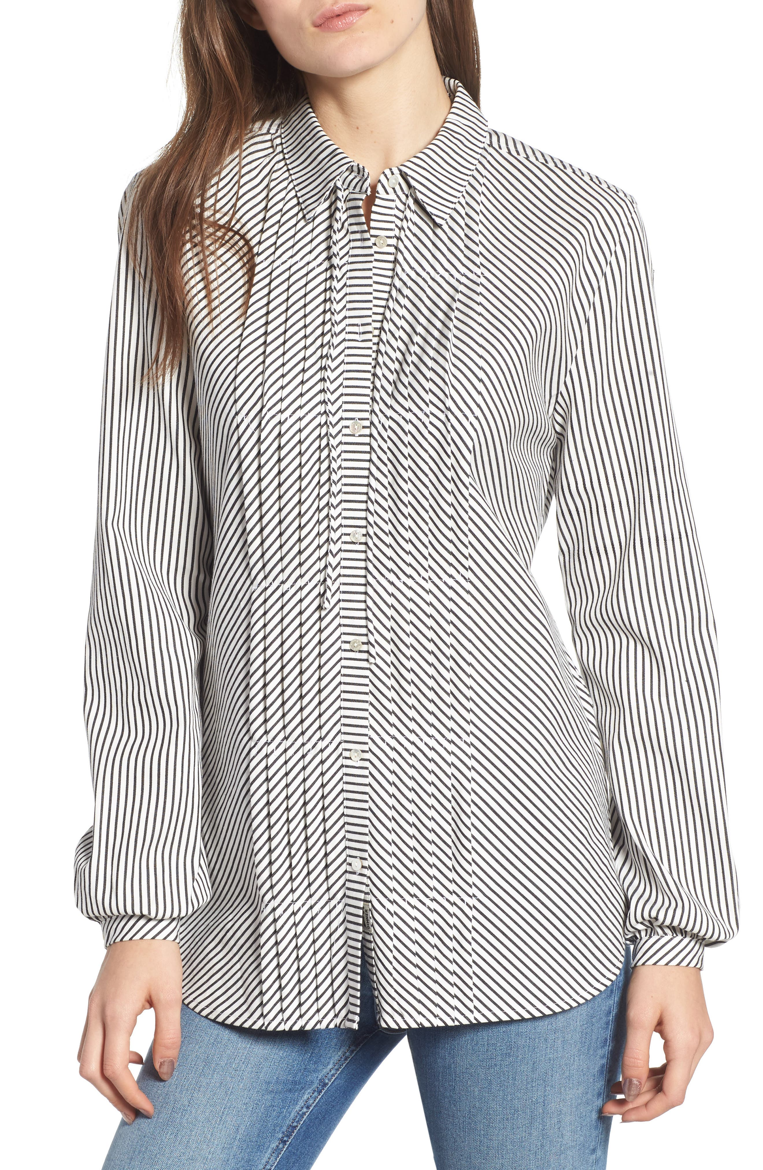 Stripe Pleat Shirt,                             Main thumbnail 1, color,                             BLACK/ WHITE PIN STRIPE