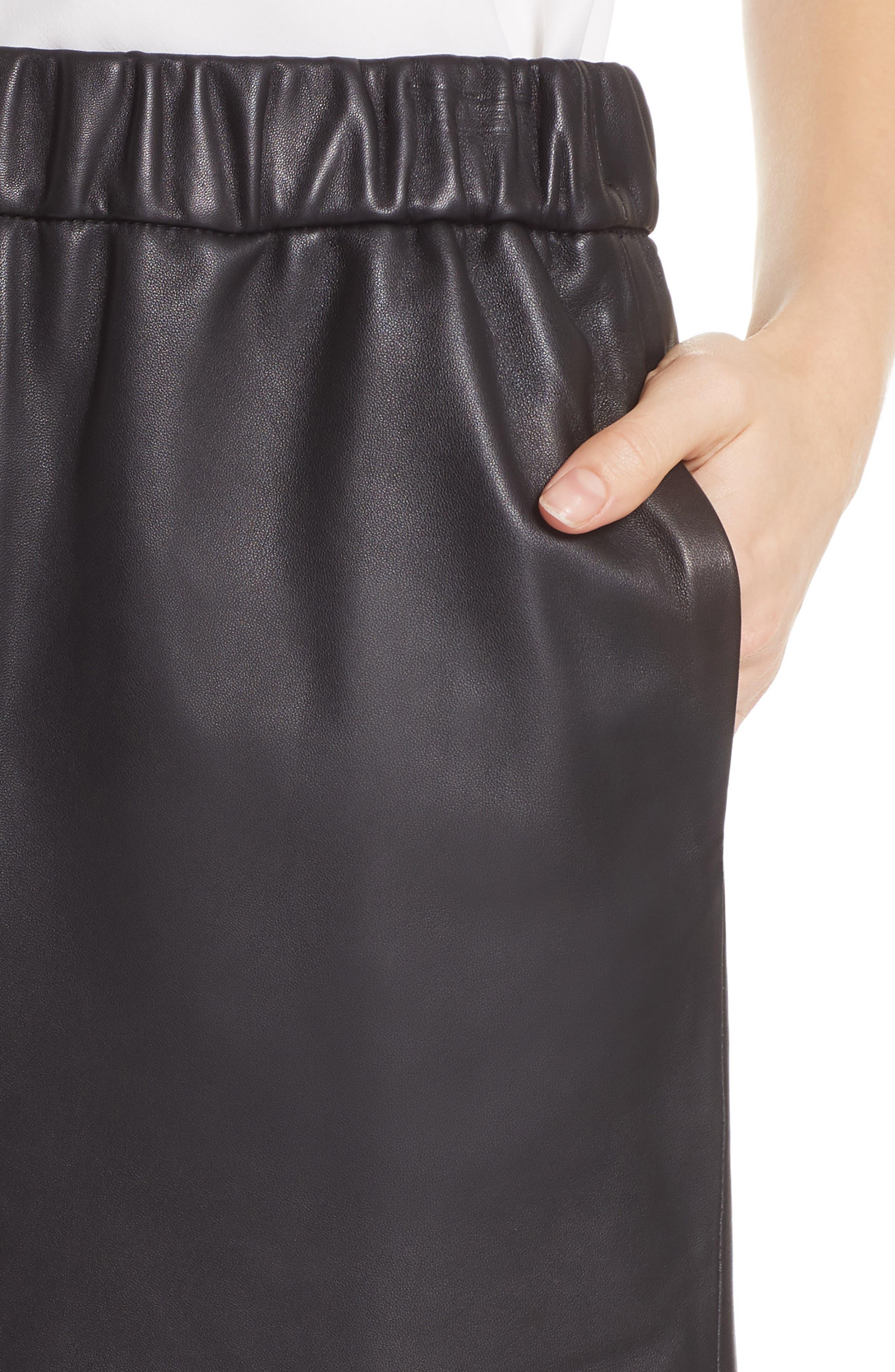 Pull-On Leather Miniskirt,                             Alternate thumbnail 4, color,                             NOIR