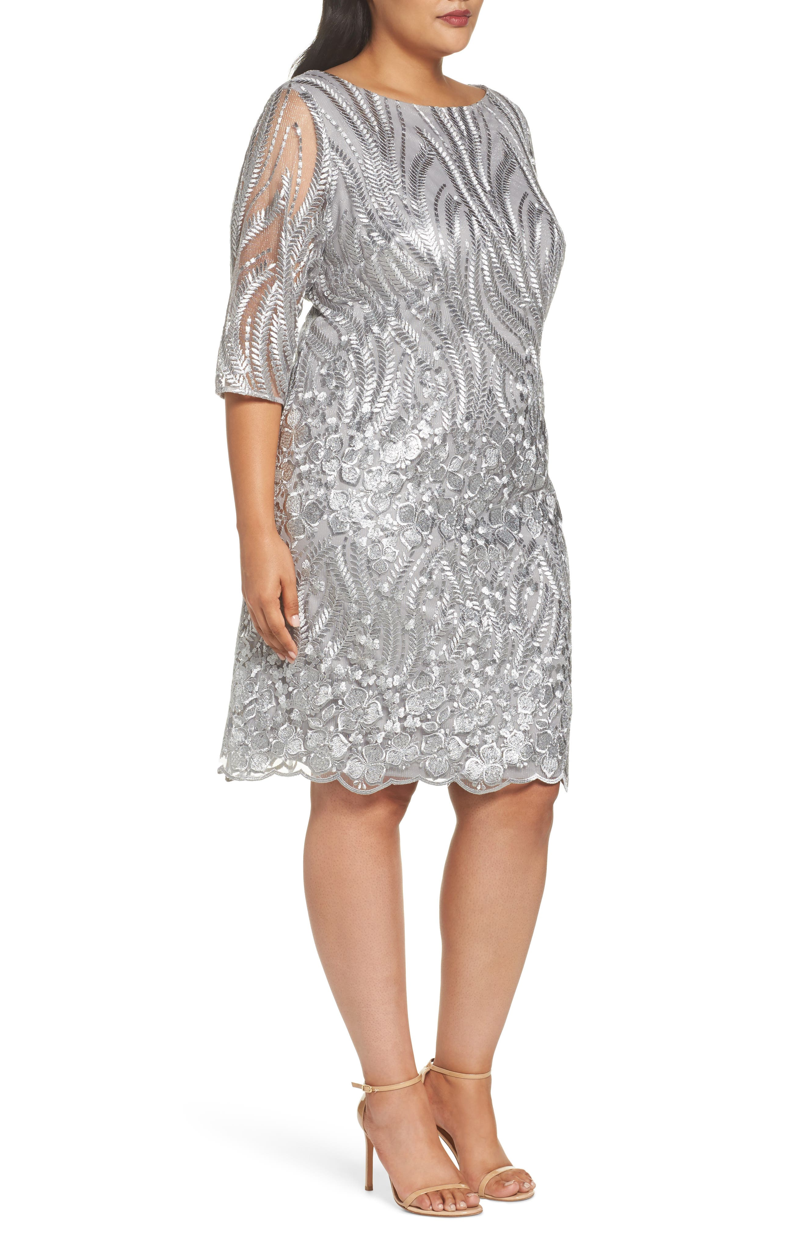 Sequin Embroidered Lace Sheath Dress,                             Alternate thumbnail 3, color,                             020