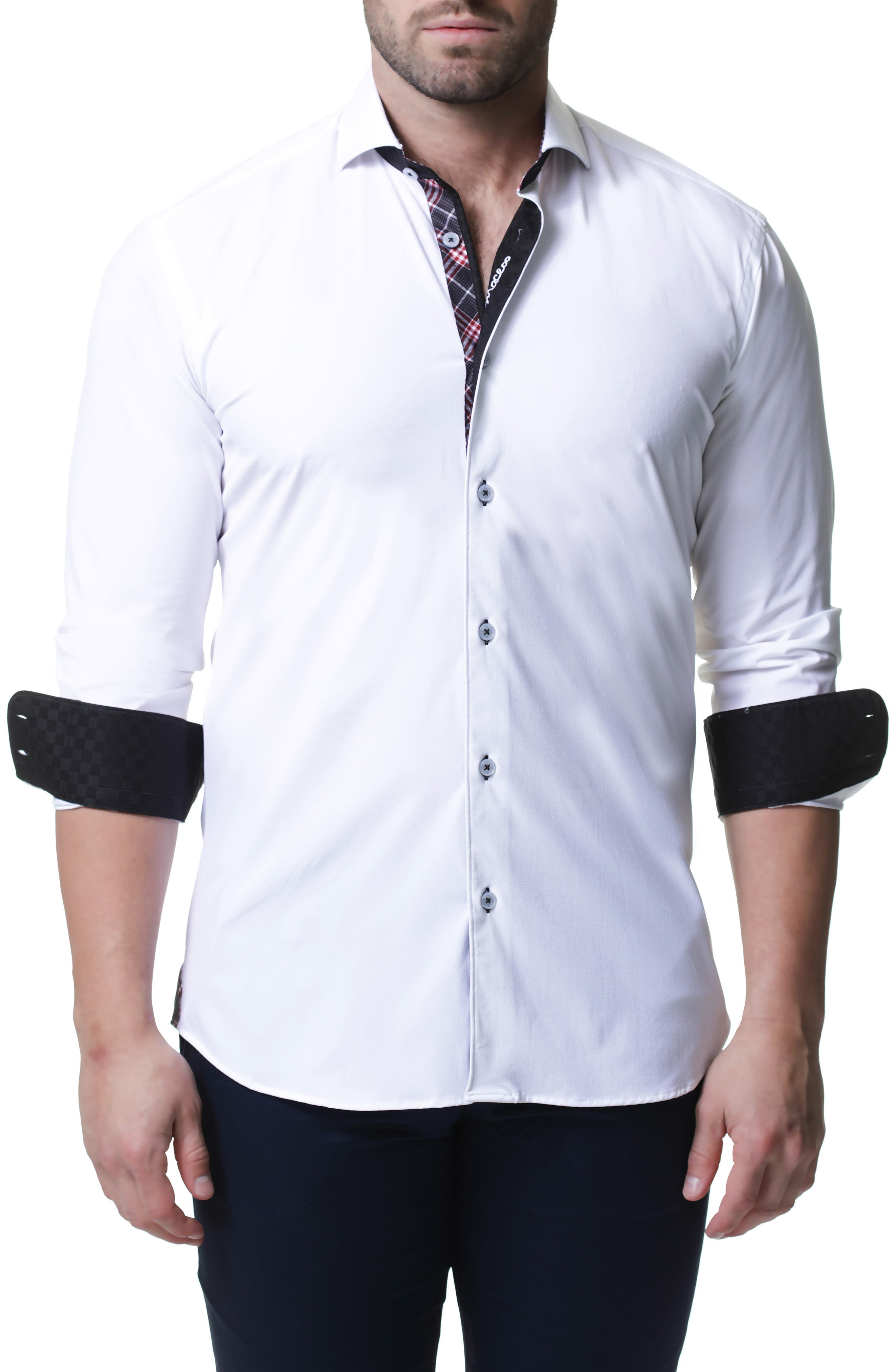 Wall Street 4-Way Stretch White Check Performance Sport Shirt,                             Alternate thumbnail 3, color,                             WHITE
