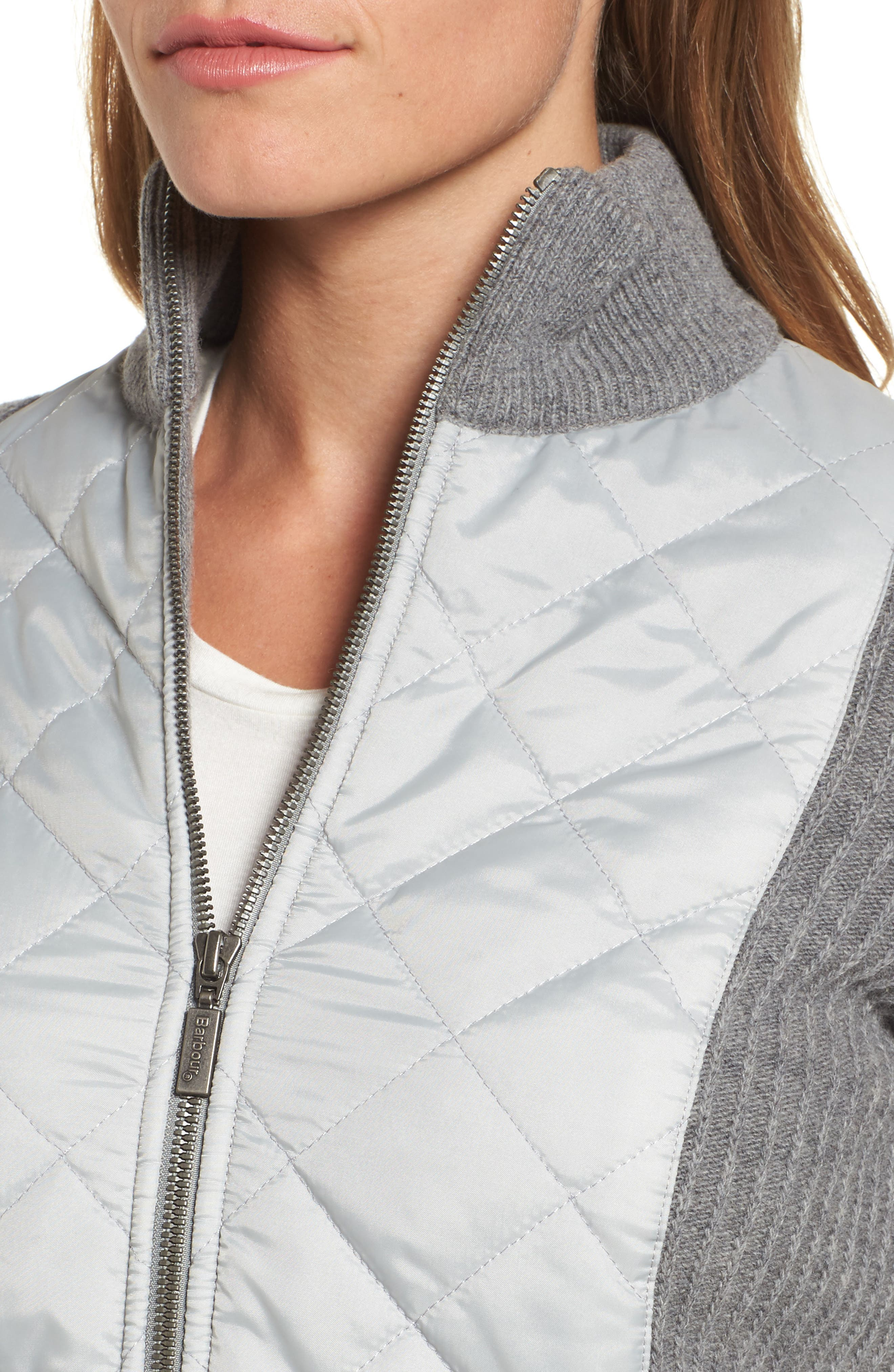 'Sporting' Zip Front Quilted Jacket,                             Alternate thumbnail 4, color,                             050