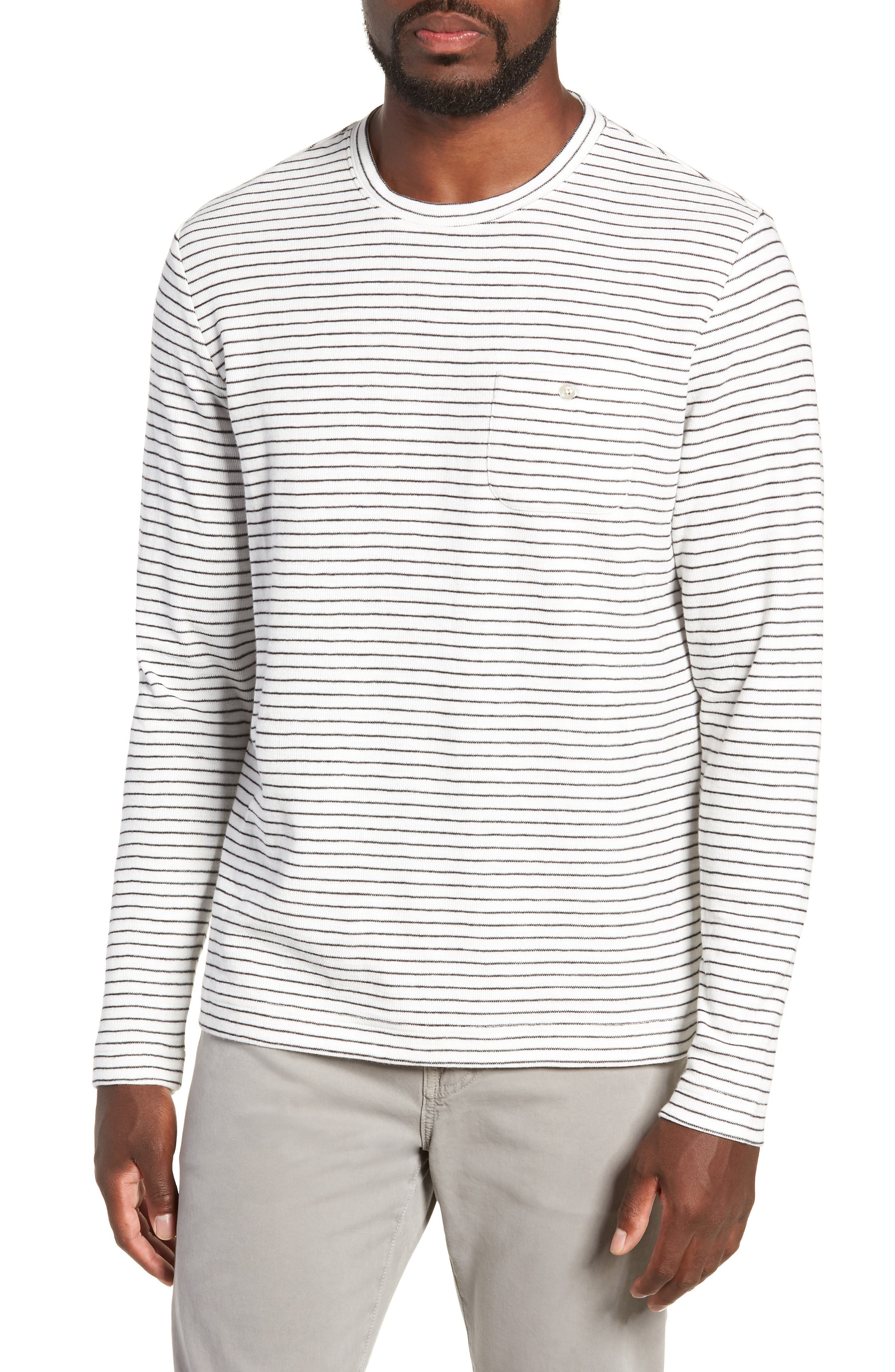 MICHAEL BASTIAN Stripe Long Sleeve Pocket T-Shirt in Natural