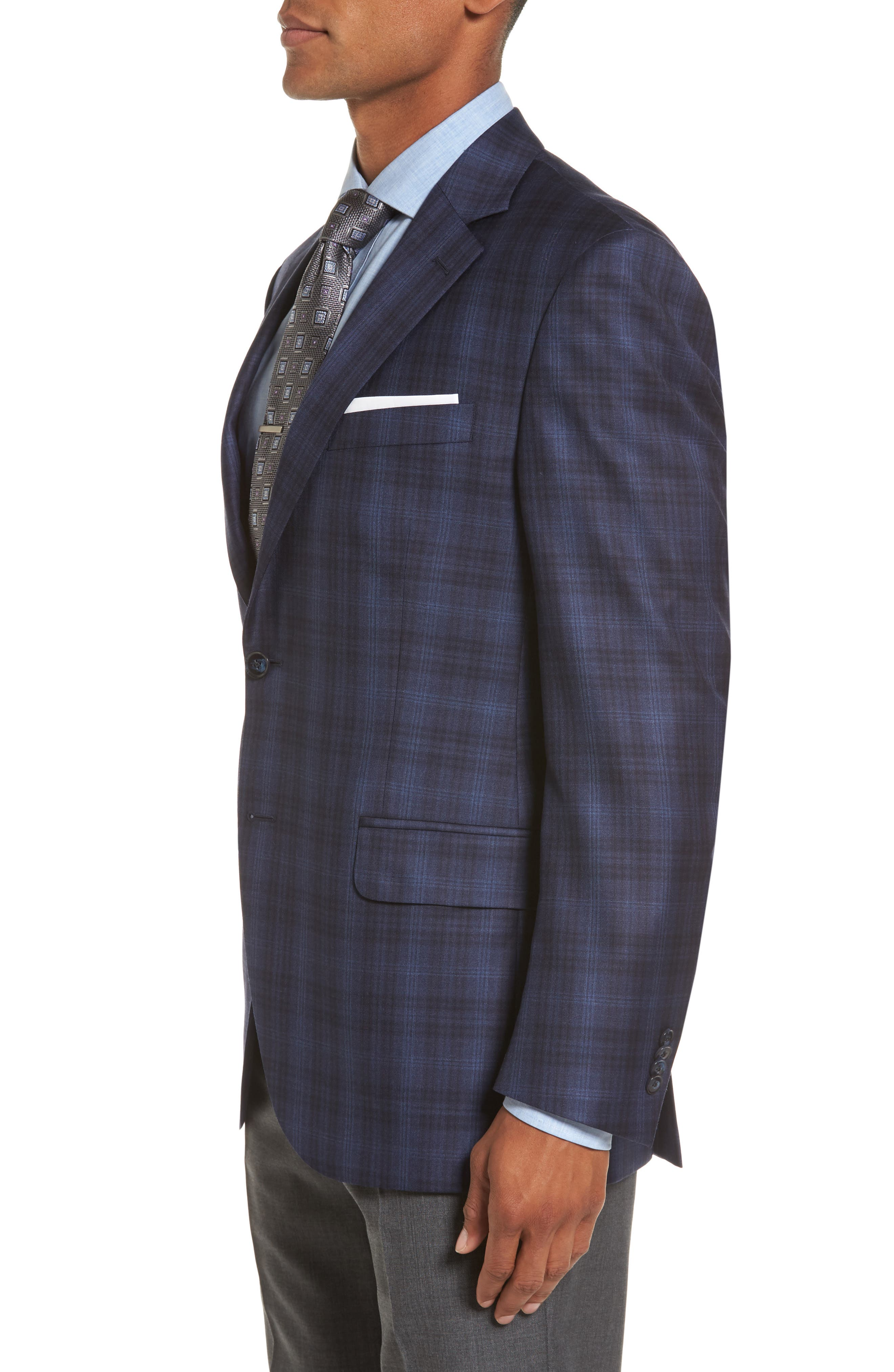 Flynn Classic Fit Plaid Wool Sport Coat,                             Alternate thumbnail 3, color,