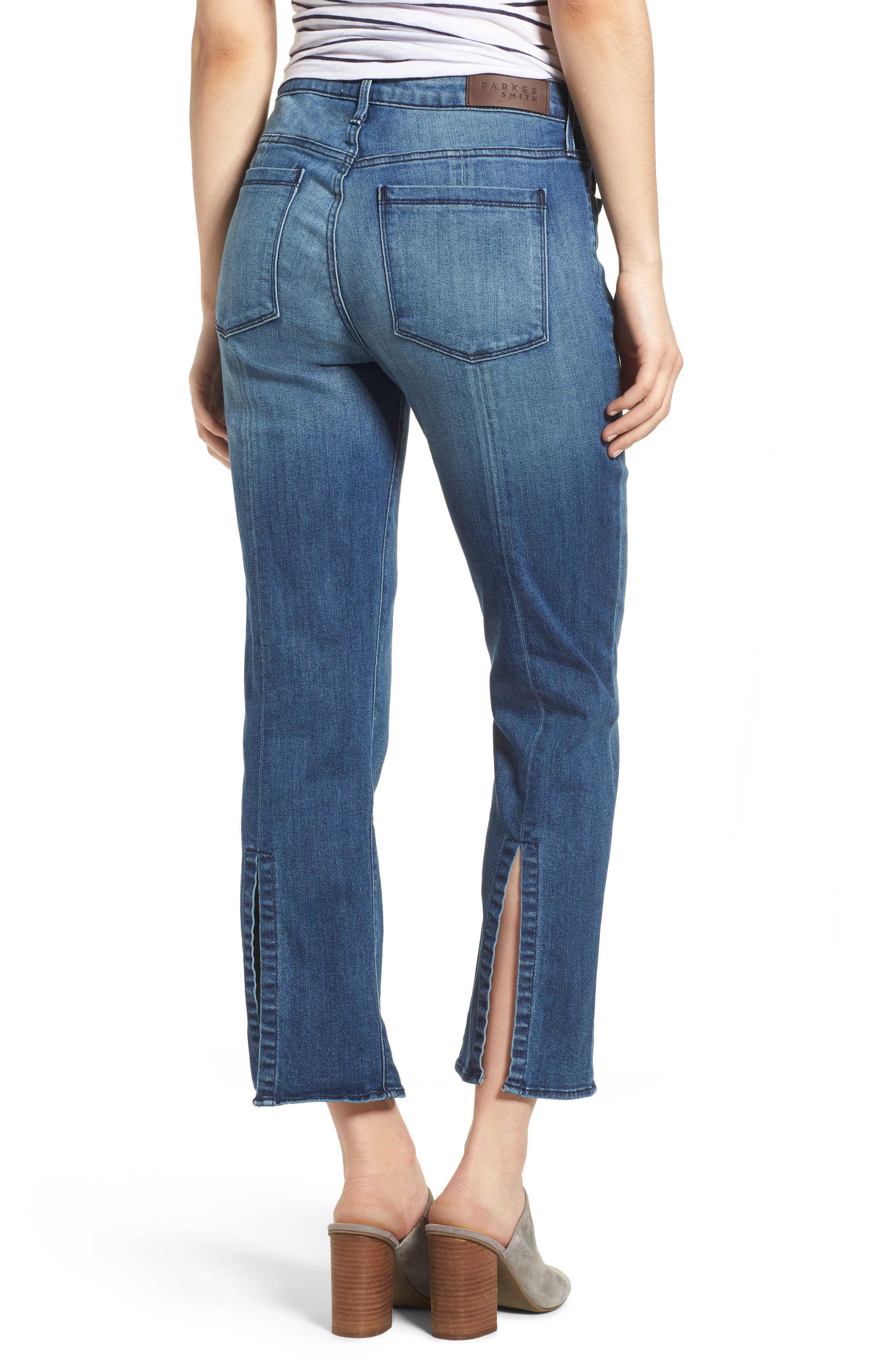 Split Back Crop Jeans,                             Alternate thumbnail 2, color,