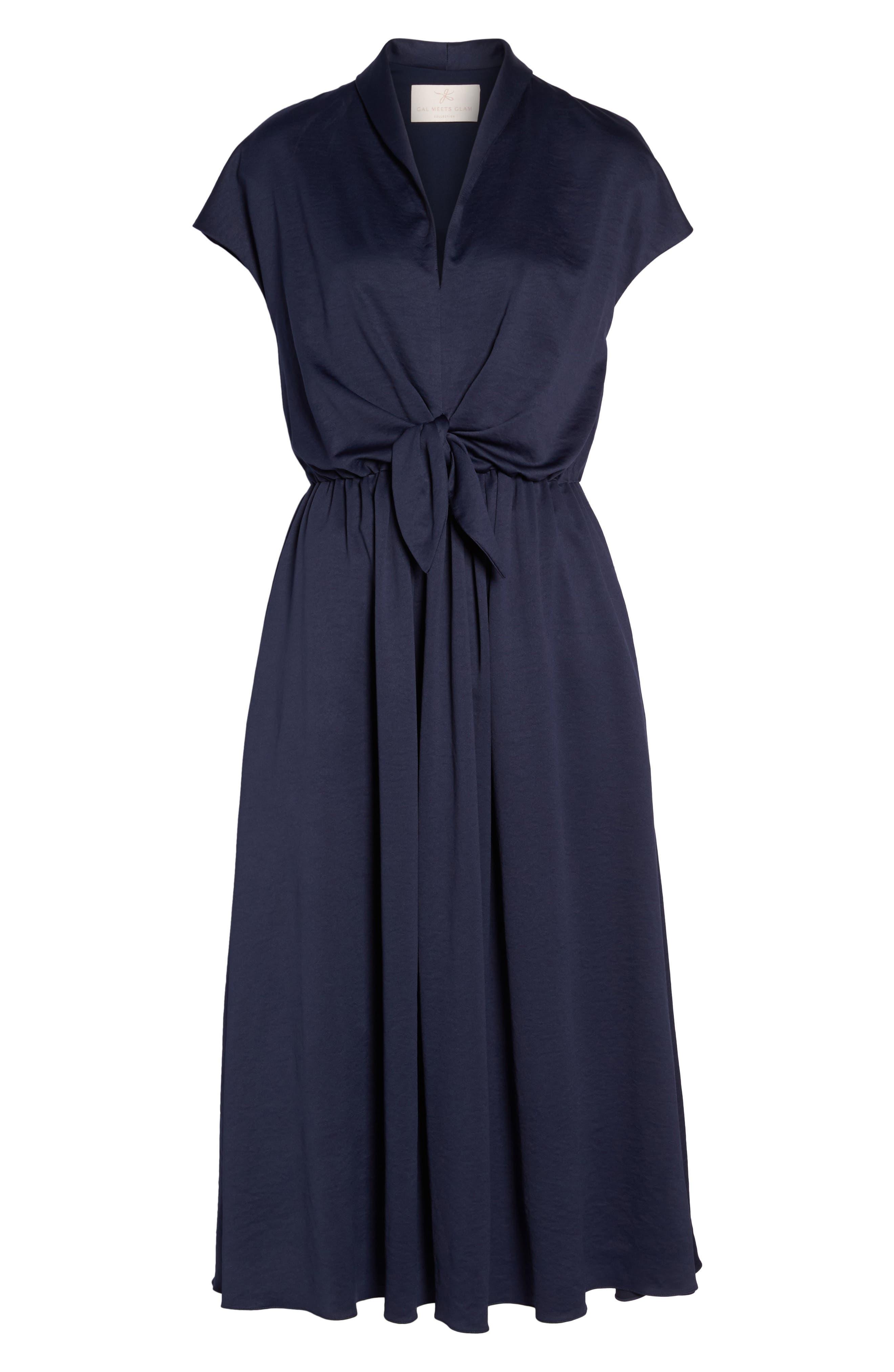 Margie Tie Waist Satin Midi Dress,                             Alternate thumbnail 7, color,                             462