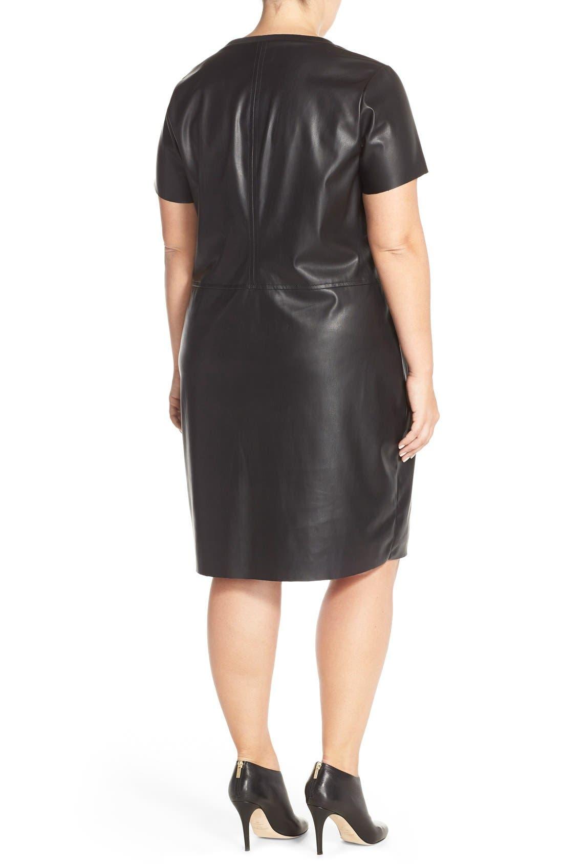 JUNAROSE,                             'Kanya' Faux Leather Shift Dress,                             Alternate thumbnail 5, color,                             001