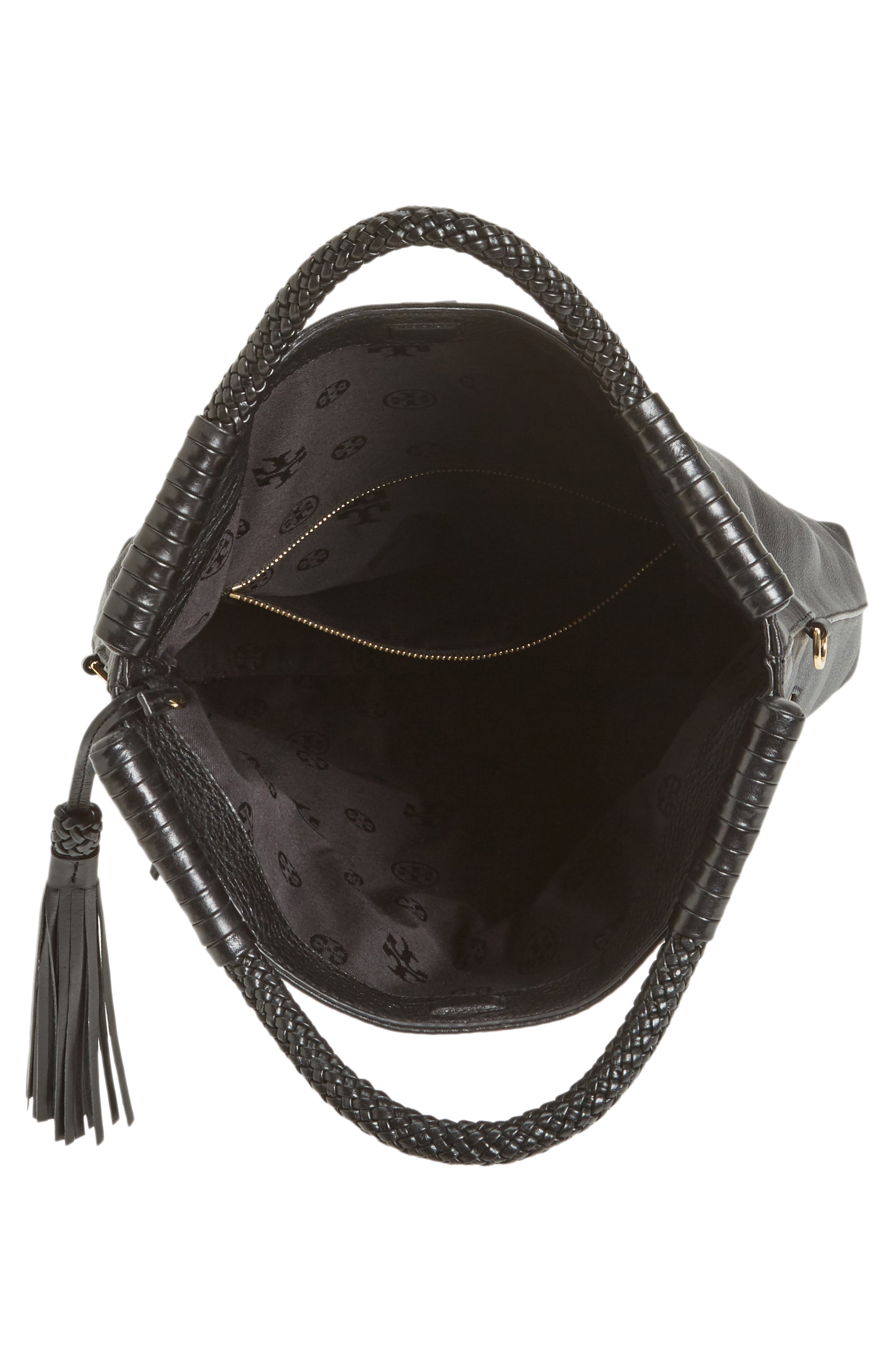 Convertible Leather Crossbody Bag,                             Alternate thumbnail 4, color,                             001