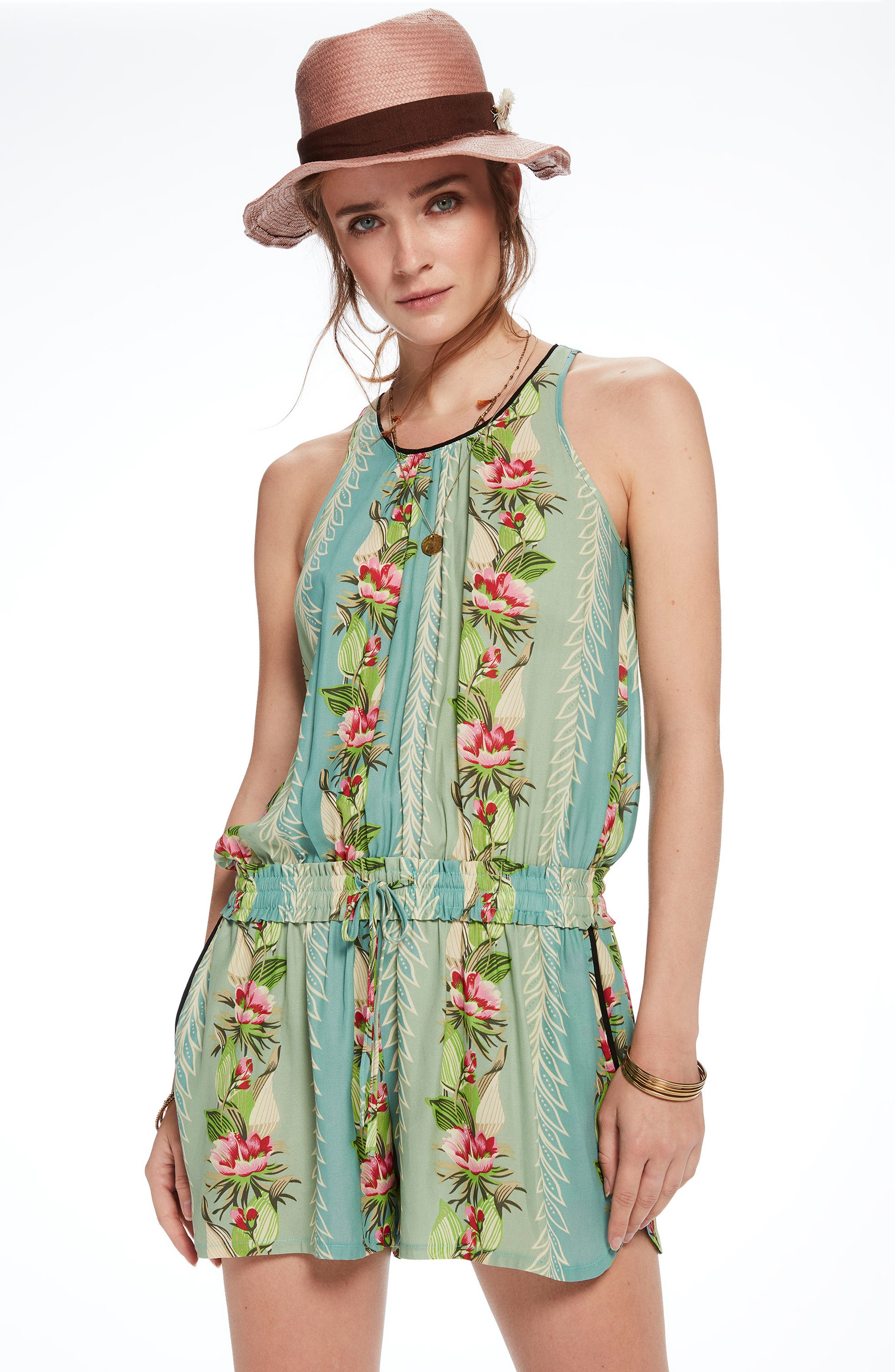 Print All in One Romper,                             Alternate thumbnail 8, color,                             440