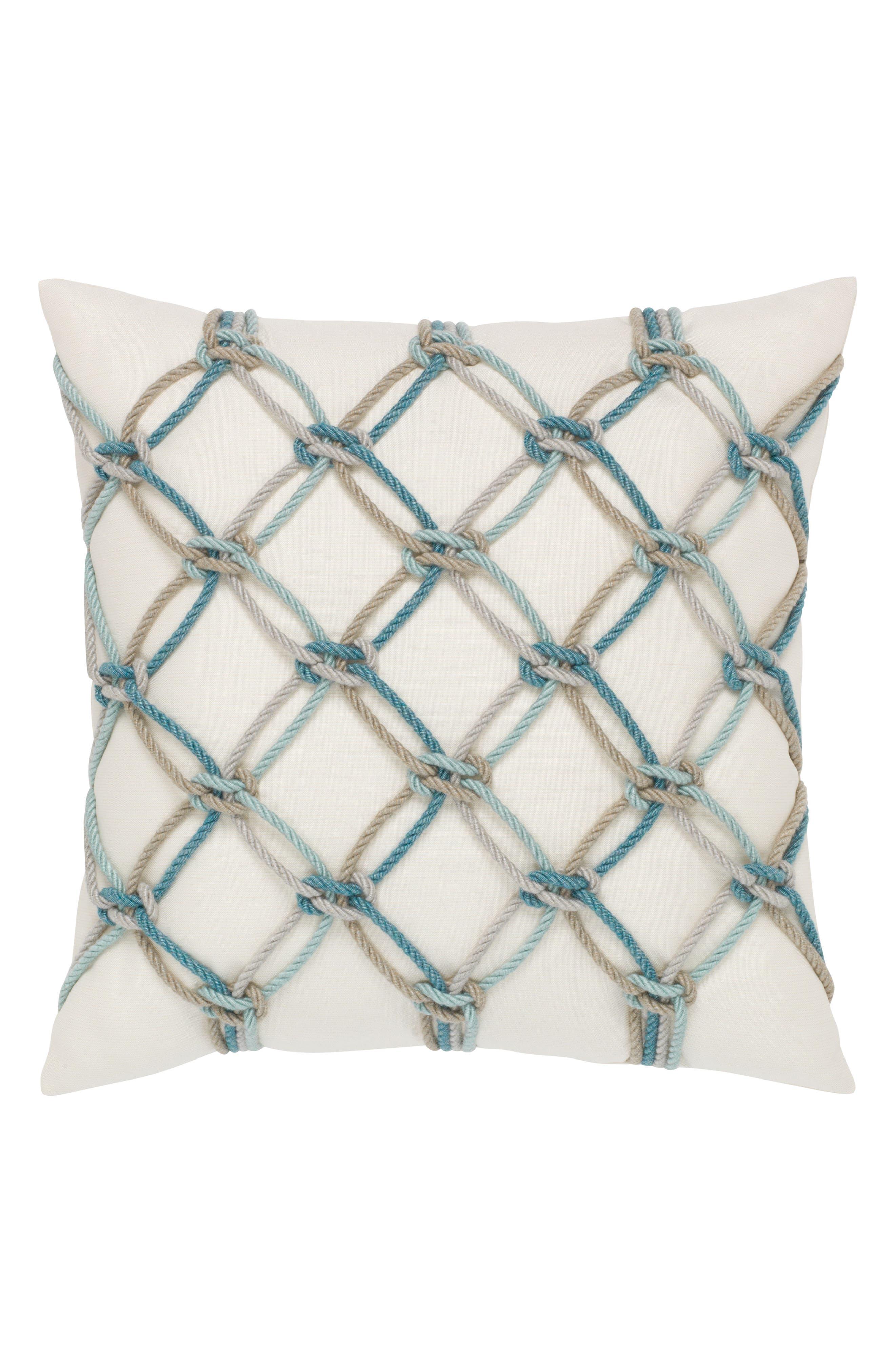 Aqua Rope Indoor/Outdoor Accent Pillow,                         Main,                         color, WHITE/ BLUE