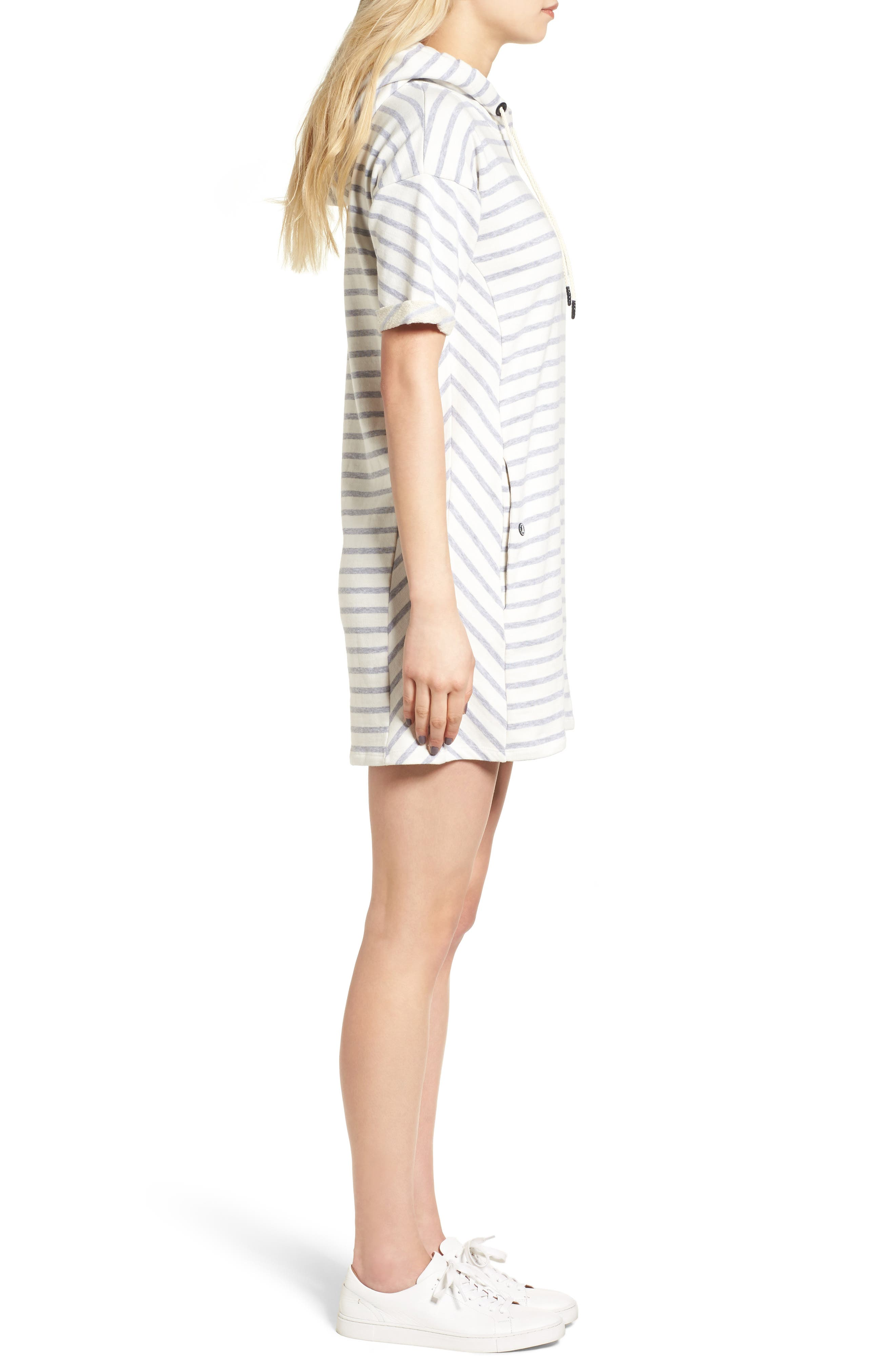 Dive Stripe Terry Hooded Dress,                             Alternate thumbnail 6, color,