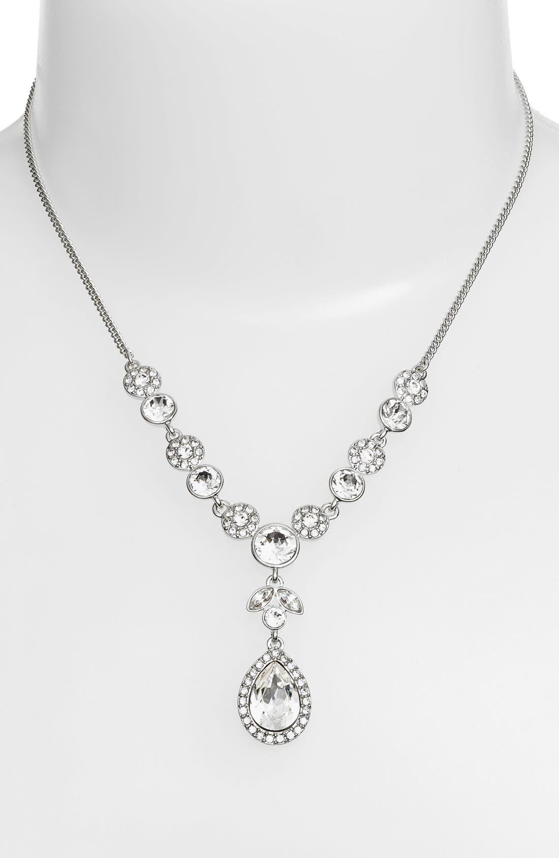 Crystal Y-Necklace,                             Main thumbnail 1, color,                             SILVER