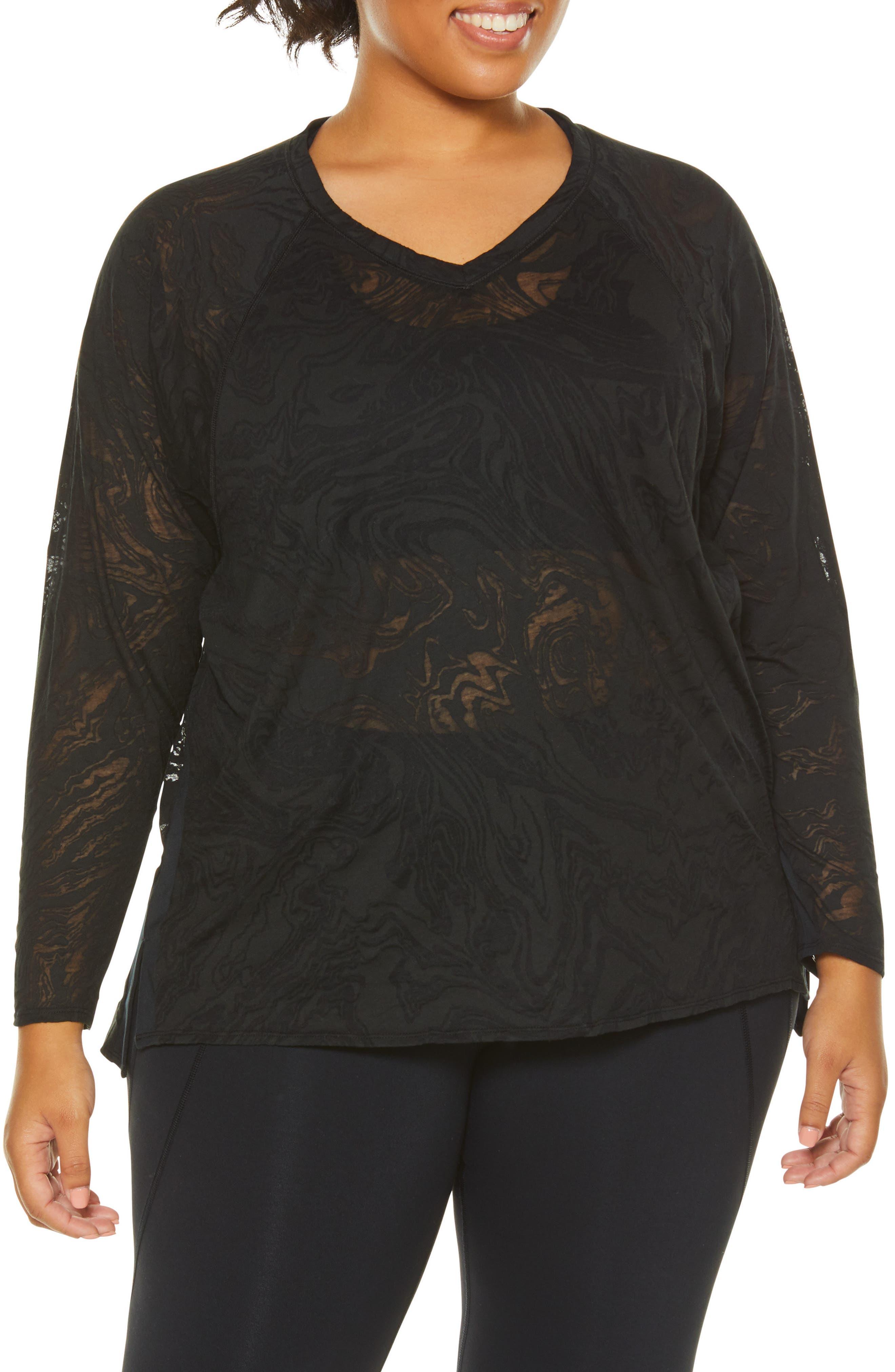 Plus Size Shape Activewear Burnout Tee, Black