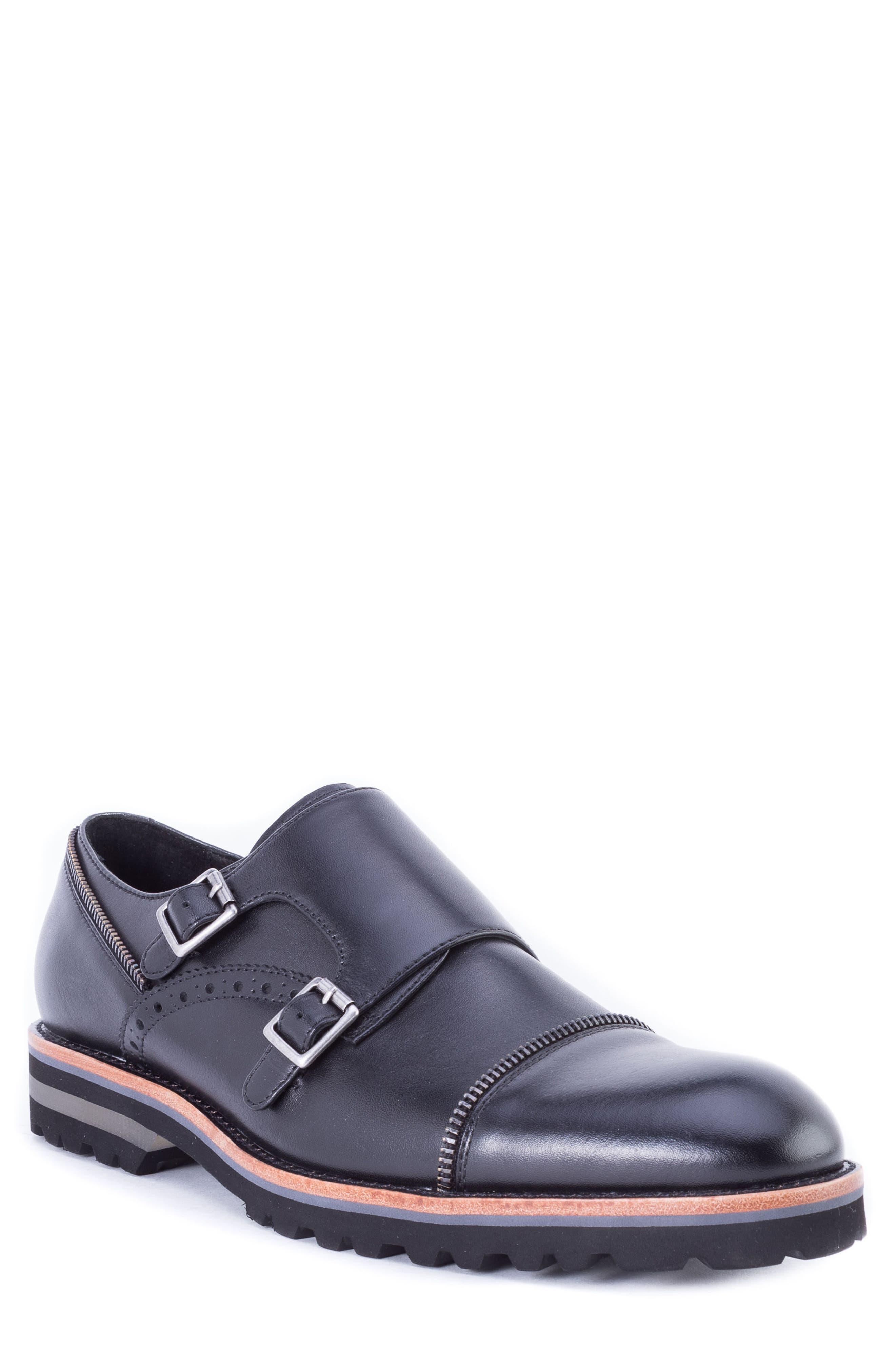 Acadia Double Buckle Monk Shoe,                             Main thumbnail 1, color,                             BLACK LEATHER