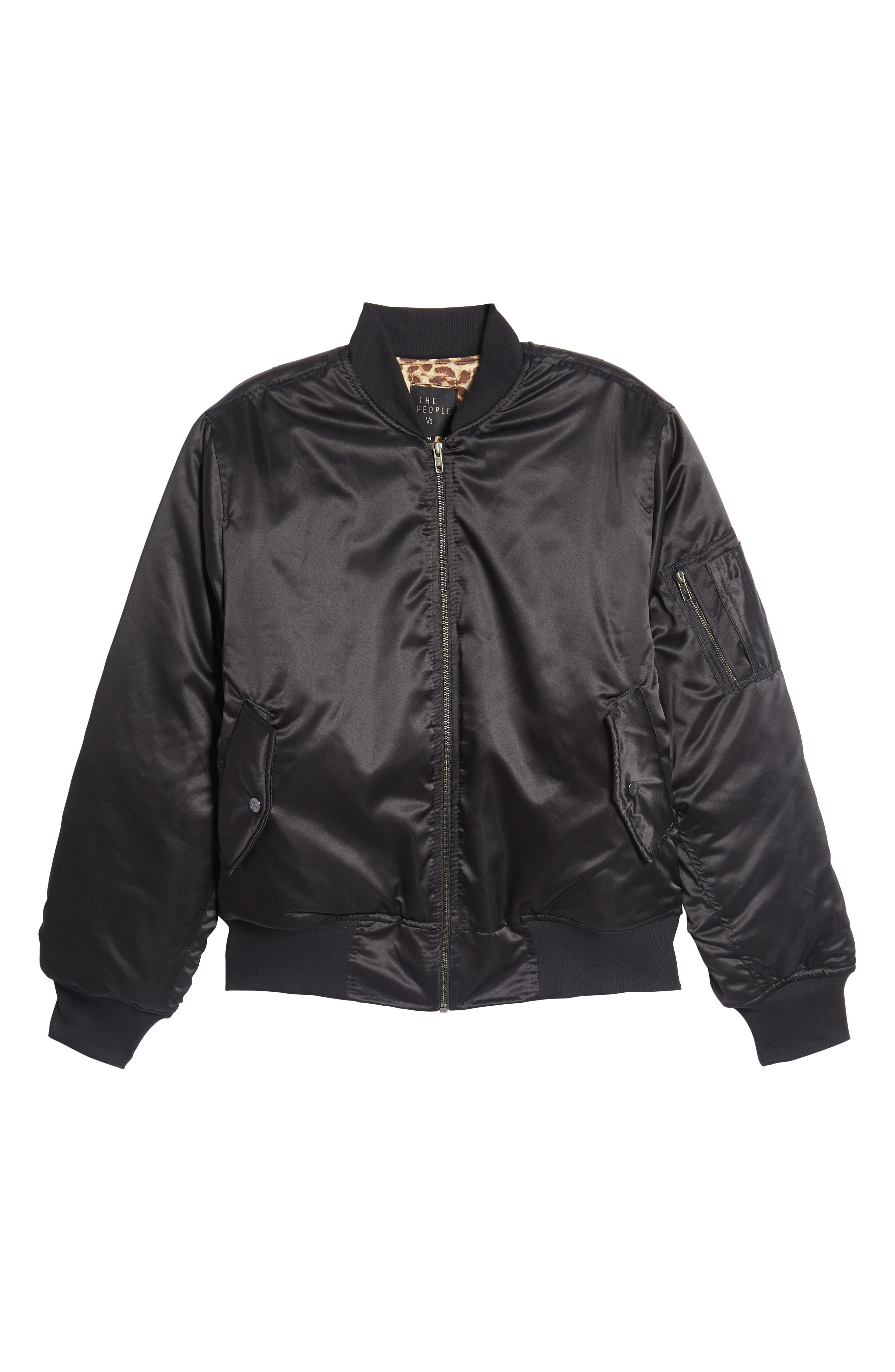 Maverick Reversible Bomber Jacket,                             Alternate thumbnail 6, color,                             BLACK/ JUNGLE CAT