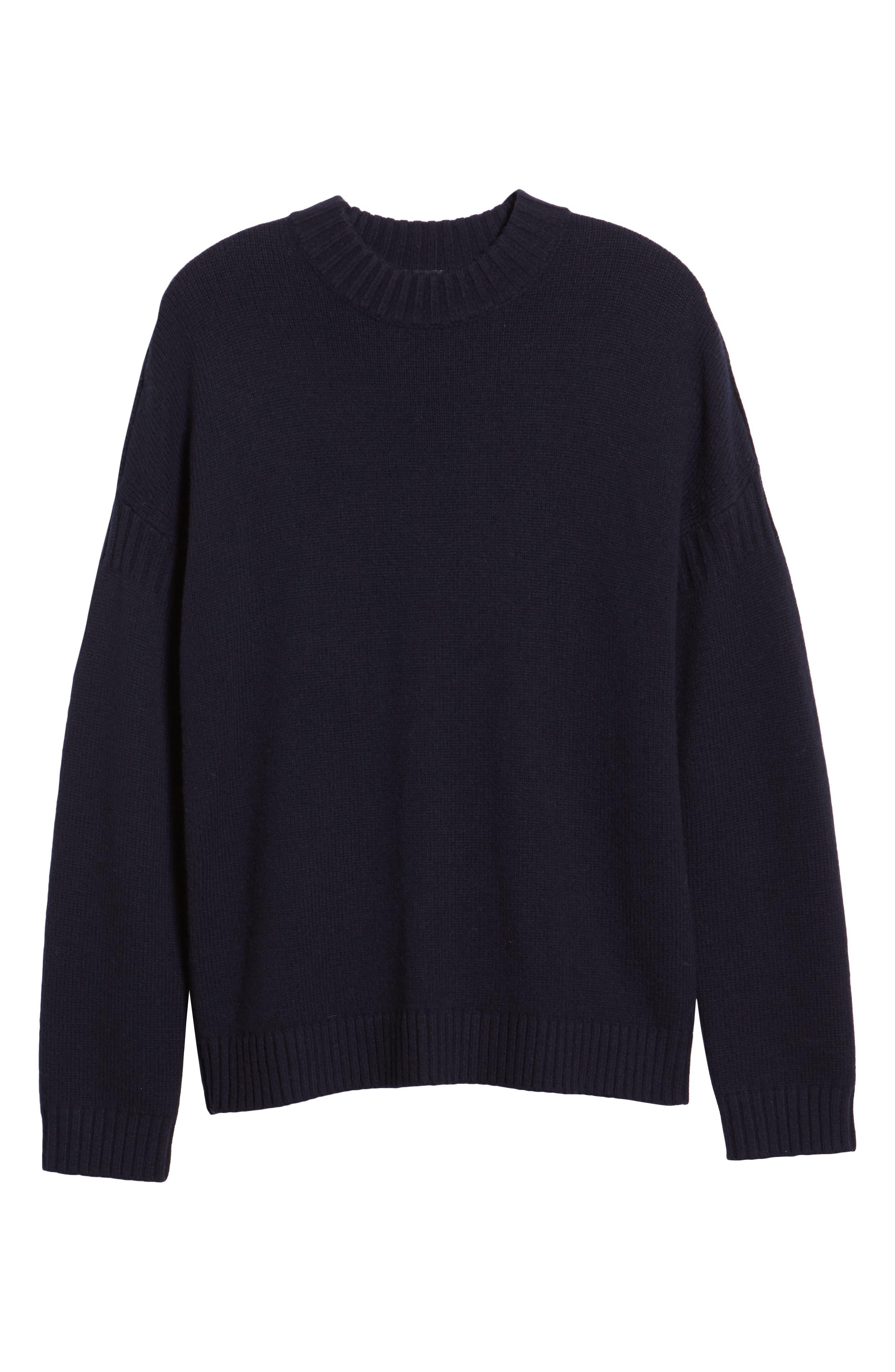 Fisherman Wool Blend Crewneck Sweater,                             Alternate thumbnail 6, color,                             UTILITY BLUE