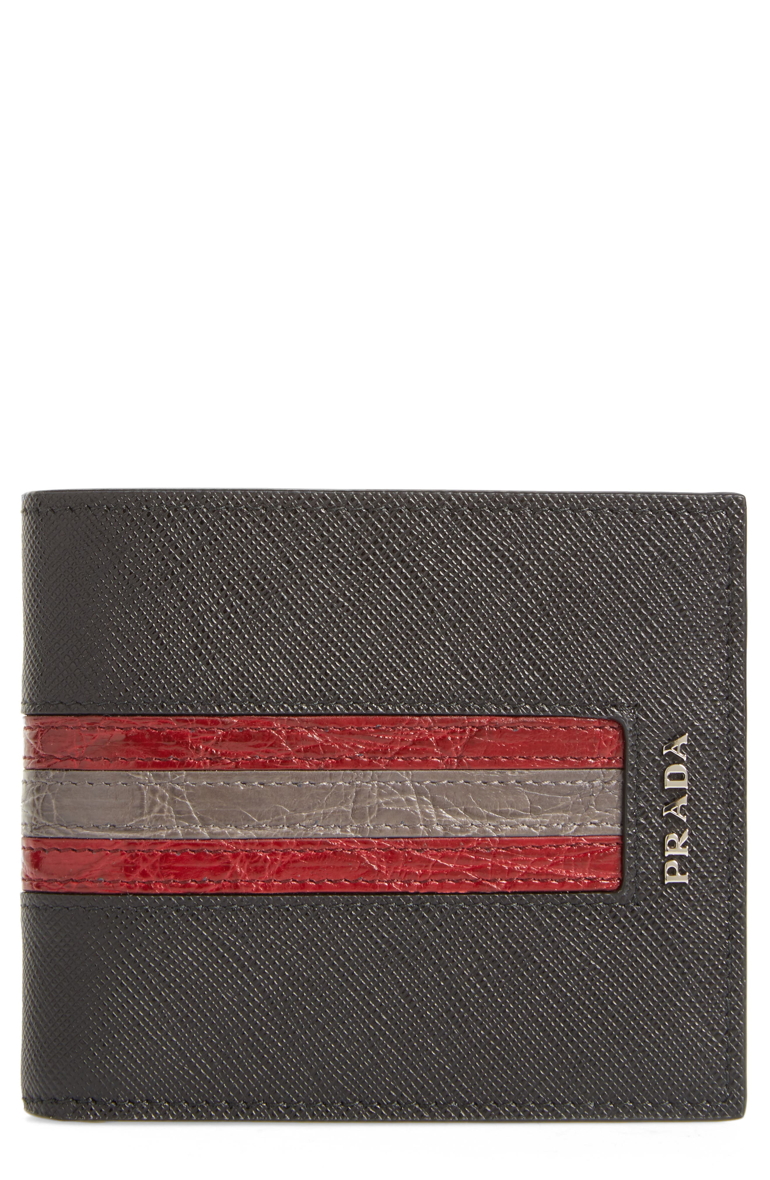 Saffiano and Crocodile Leather Wallet,                             Main thumbnail 1, color,                             004