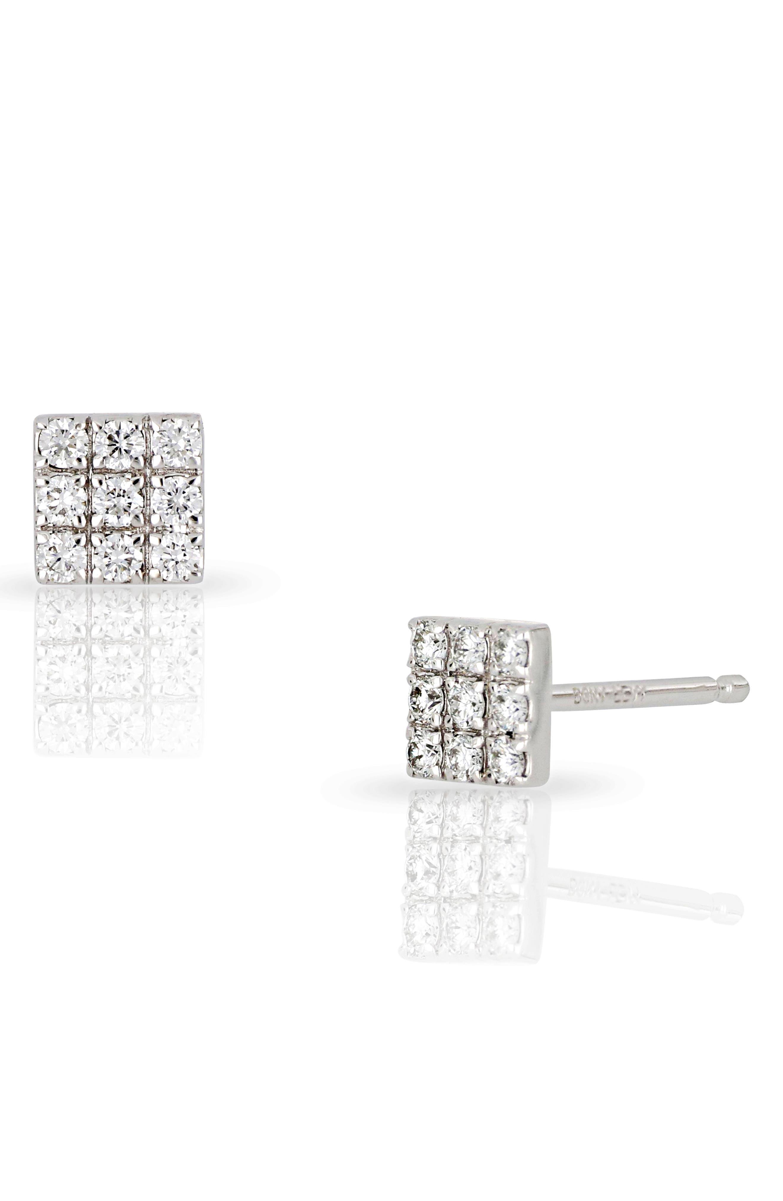 Kiera Square Diamond Stud Earrings,                         Main,                         color, WHITE GOLD