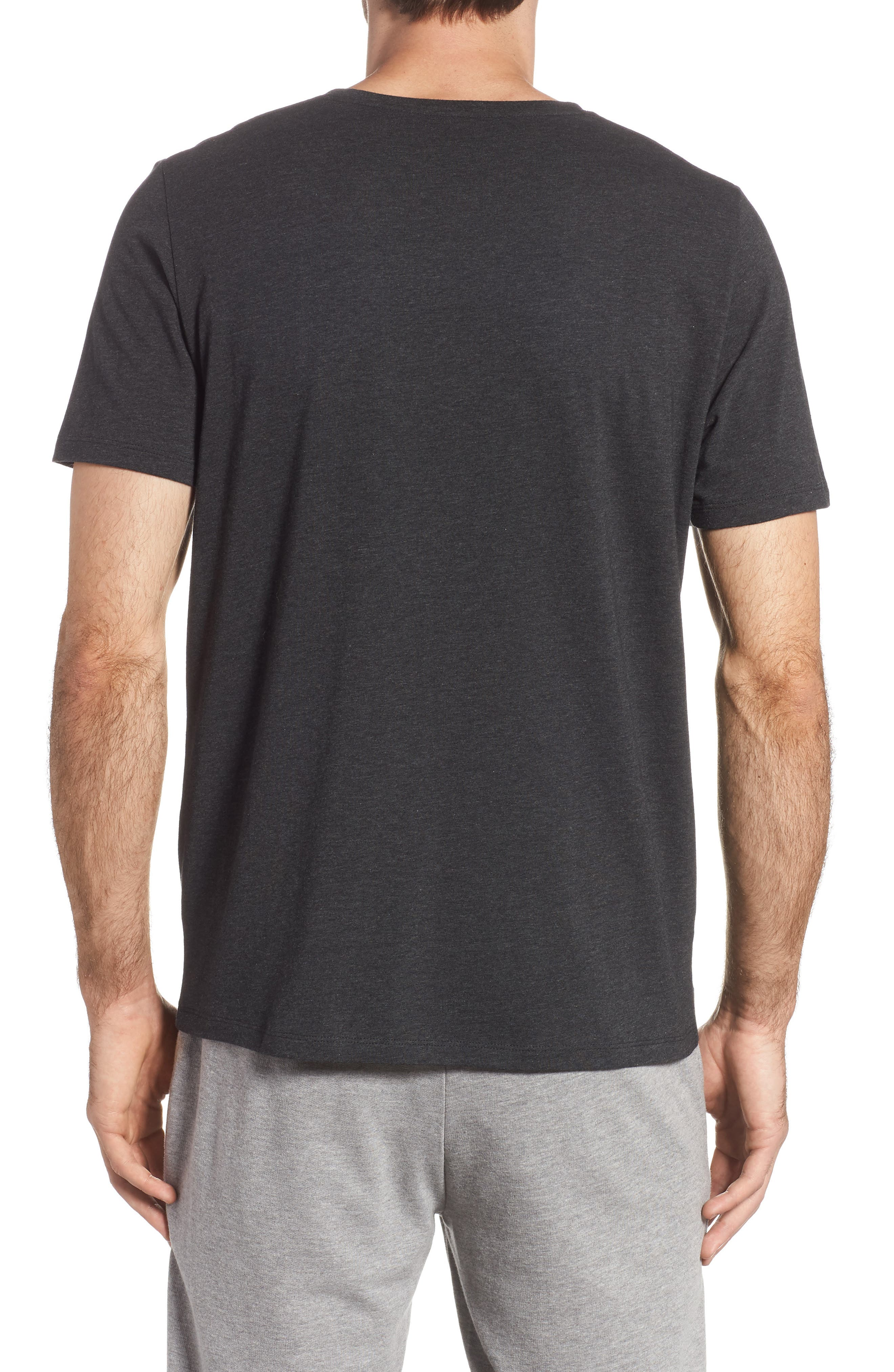 Cotton Blend V-Neck T-Shirt,                             Alternate thumbnail 2, color,                             HEATHER CHARCOAL