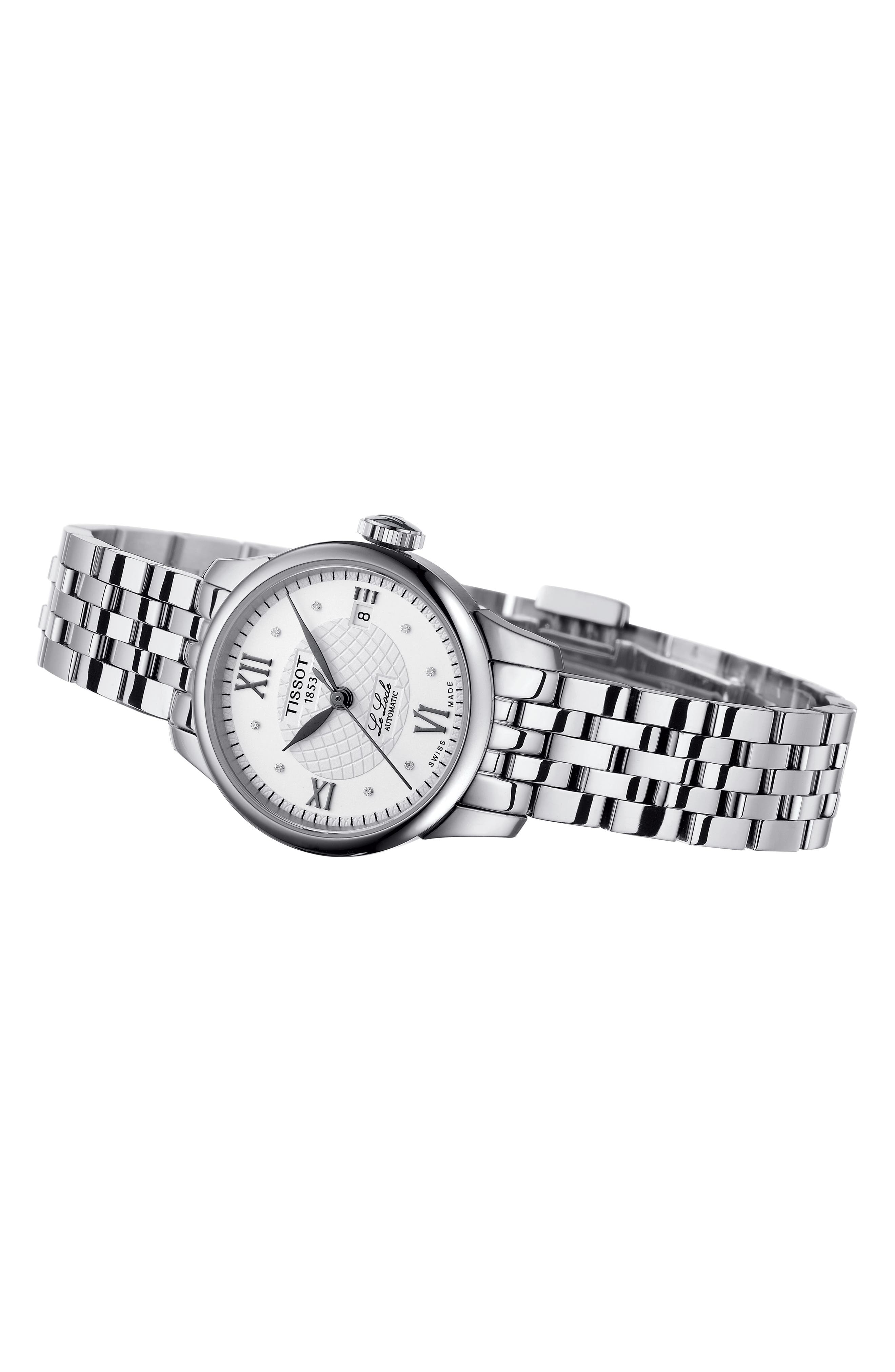 TISSOT,                             Le Locle Automatic Bracelet Watch, 25mm,                             Alternate thumbnail 2, color,                             SILVER