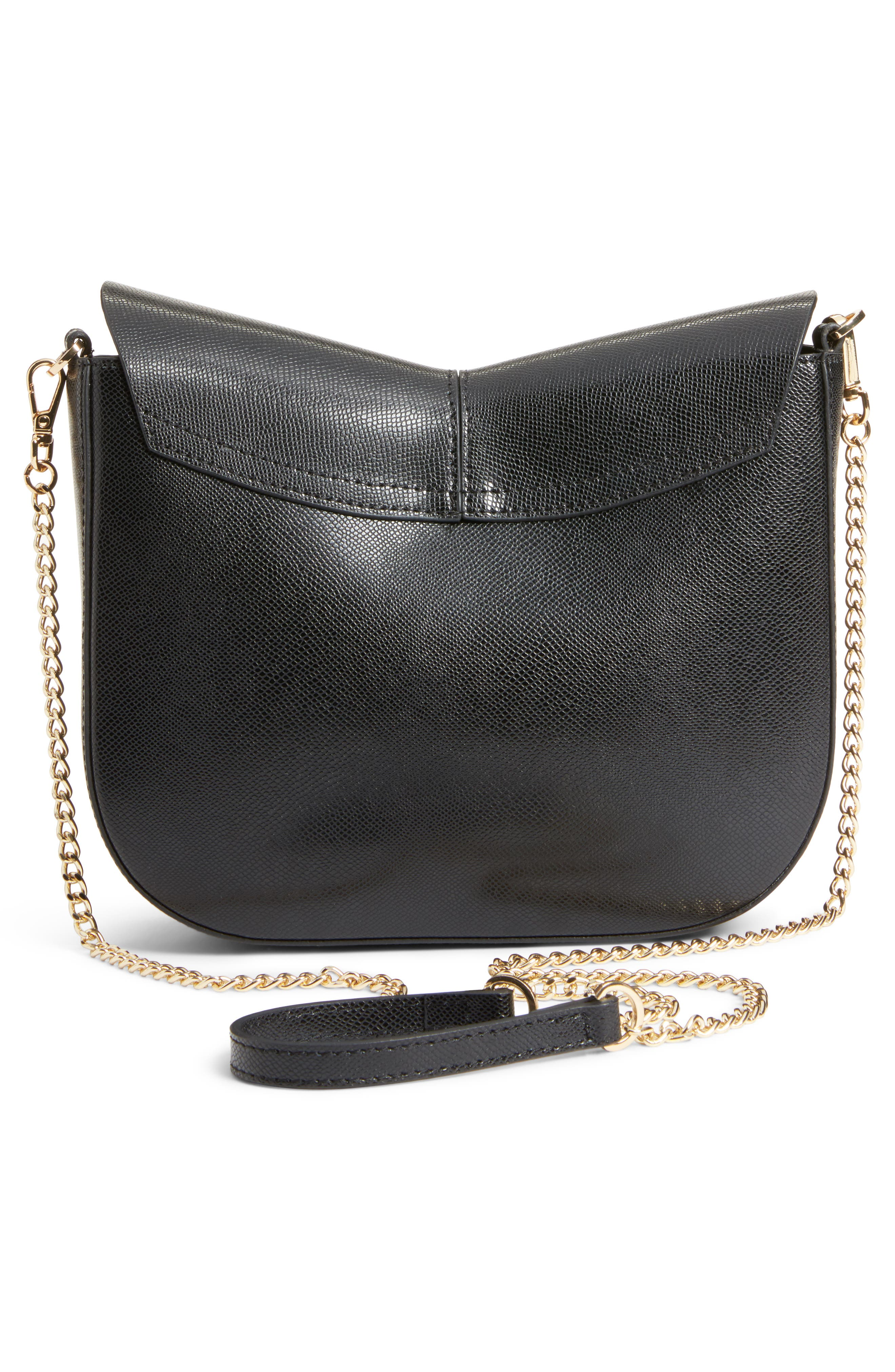 Kittii Cat Leather Crossbody Bag,                             Alternate thumbnail 3, color,                             001