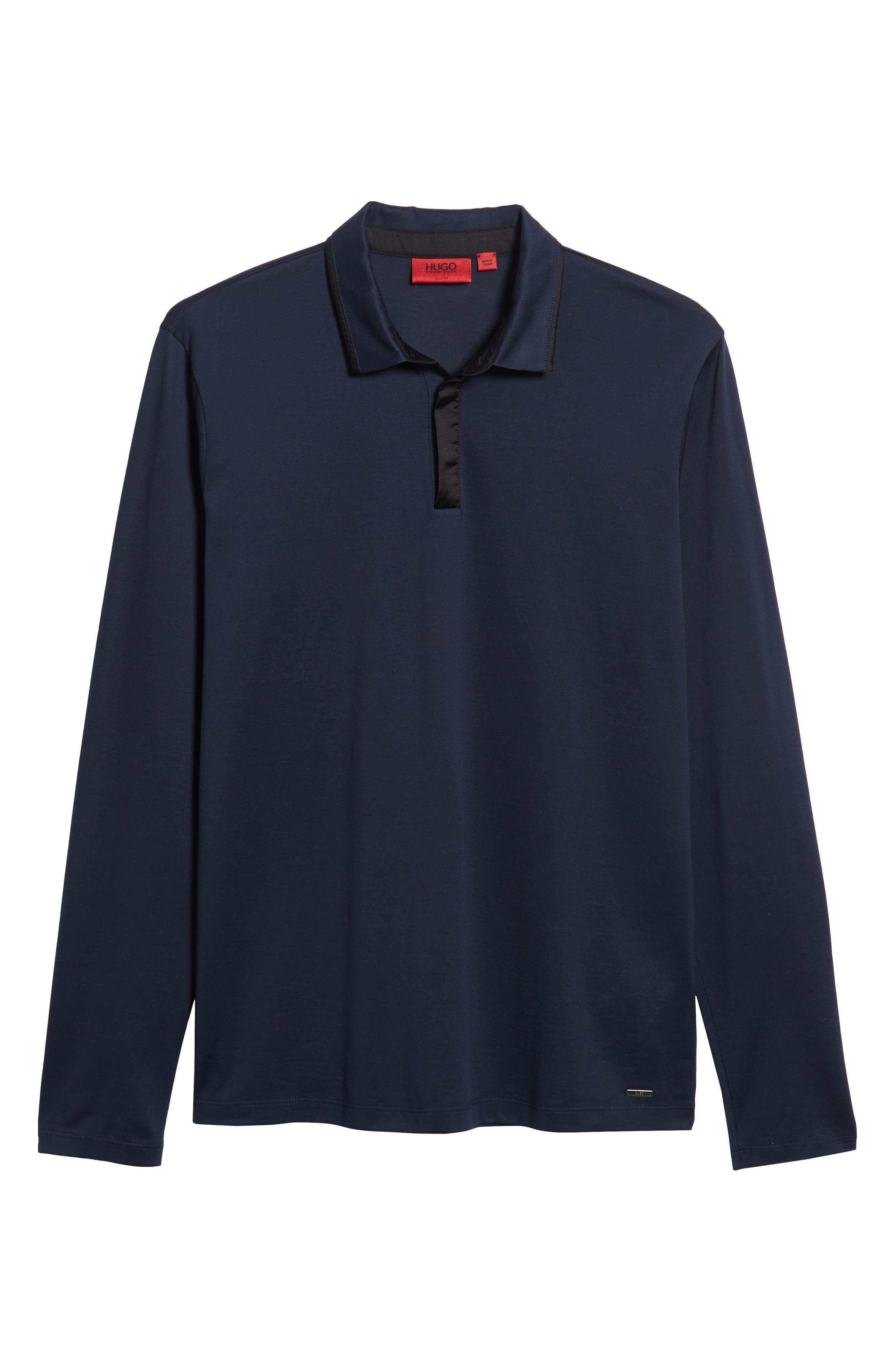 Dalendar Mercerized Cotton Slim Fit Polo Shirt,                             Alternate thumbnail 6, color,                             BLUE