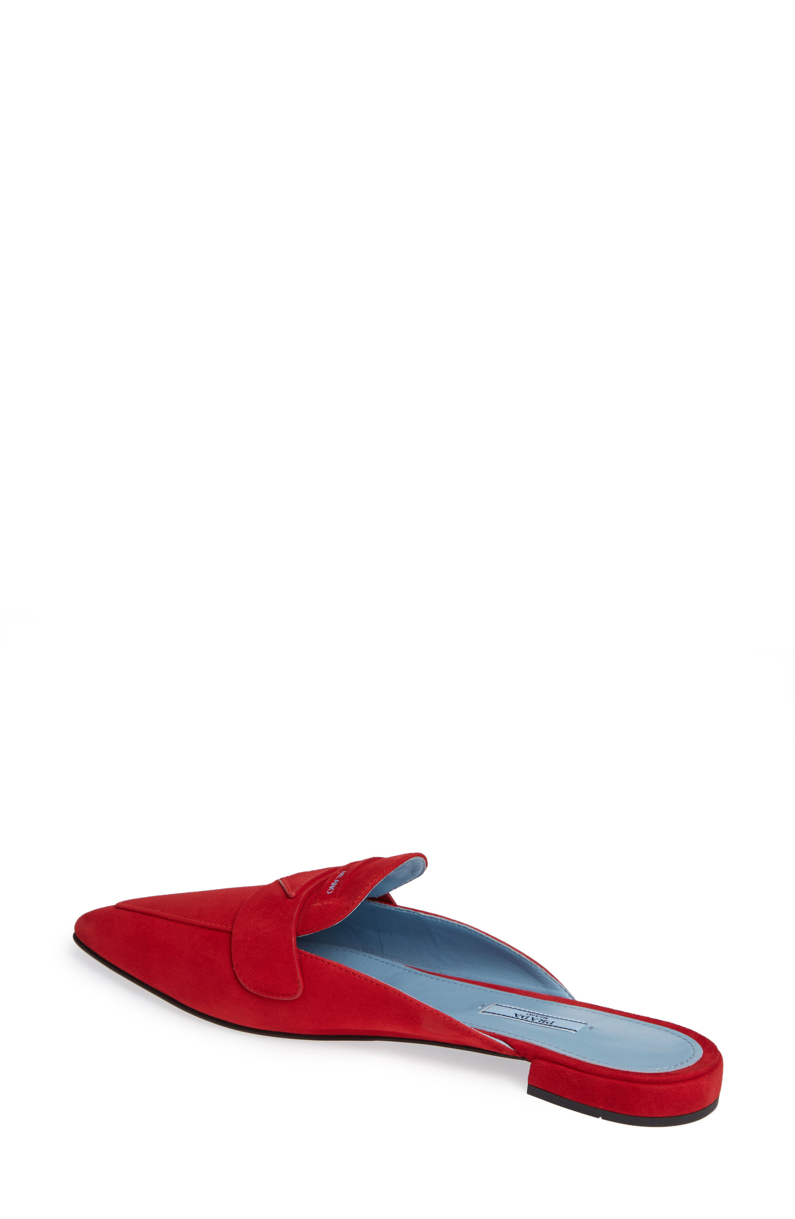 Logo Pointy Toe Loafer Mule,                             Alternate thumbnail 2, color,                             RED