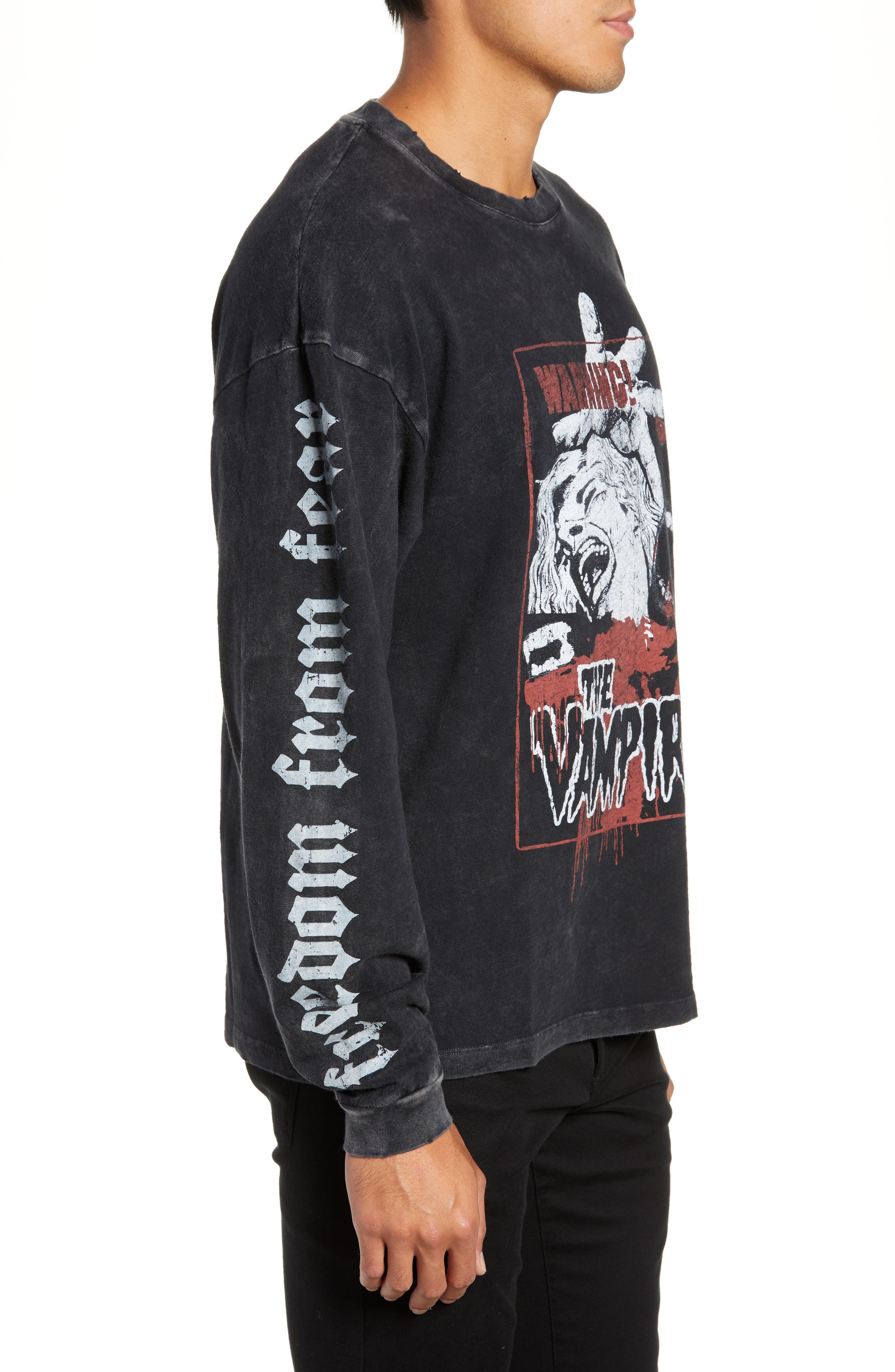 Vampire Graphic Long Sleeve T-Shirt,                             Alternate thumbnail 3, color,                             BLACK