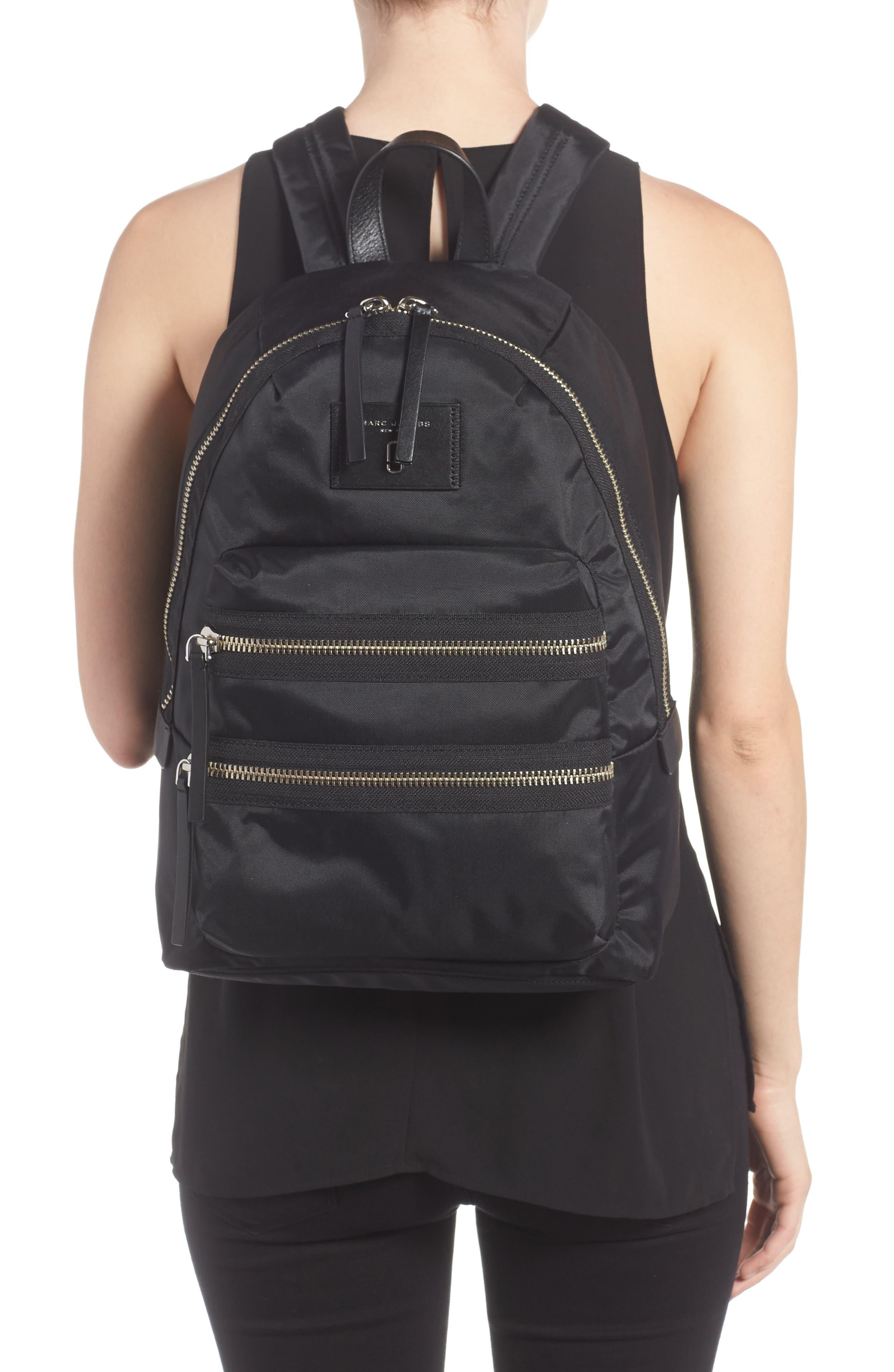 Biker Nylon Backpack,                             Alternate thumbnail 2, color,                             BLACK