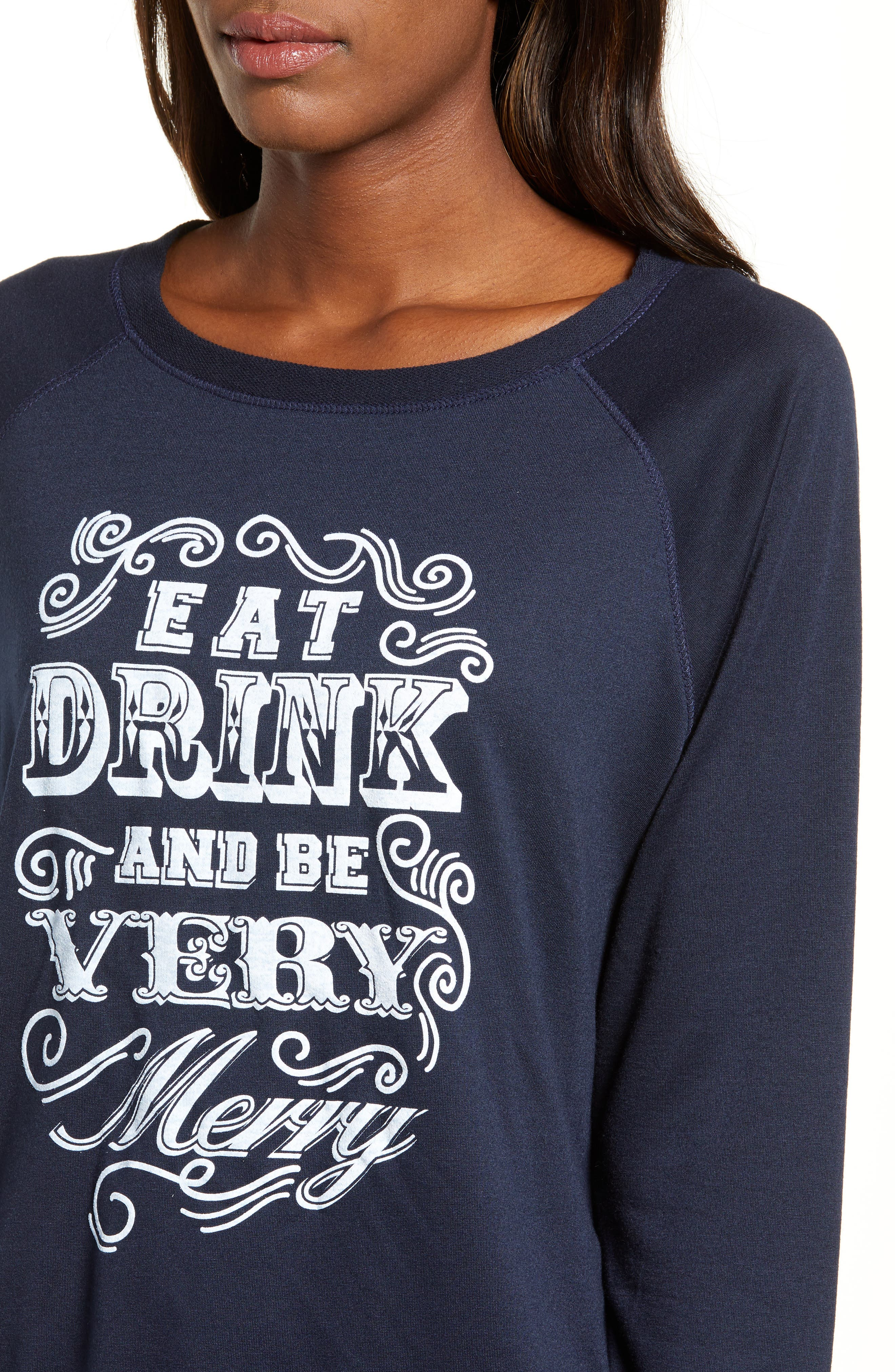 Eat, Drink & Be Merry Pullover,                             Alternate thumbnail 4, color,                             NAVY