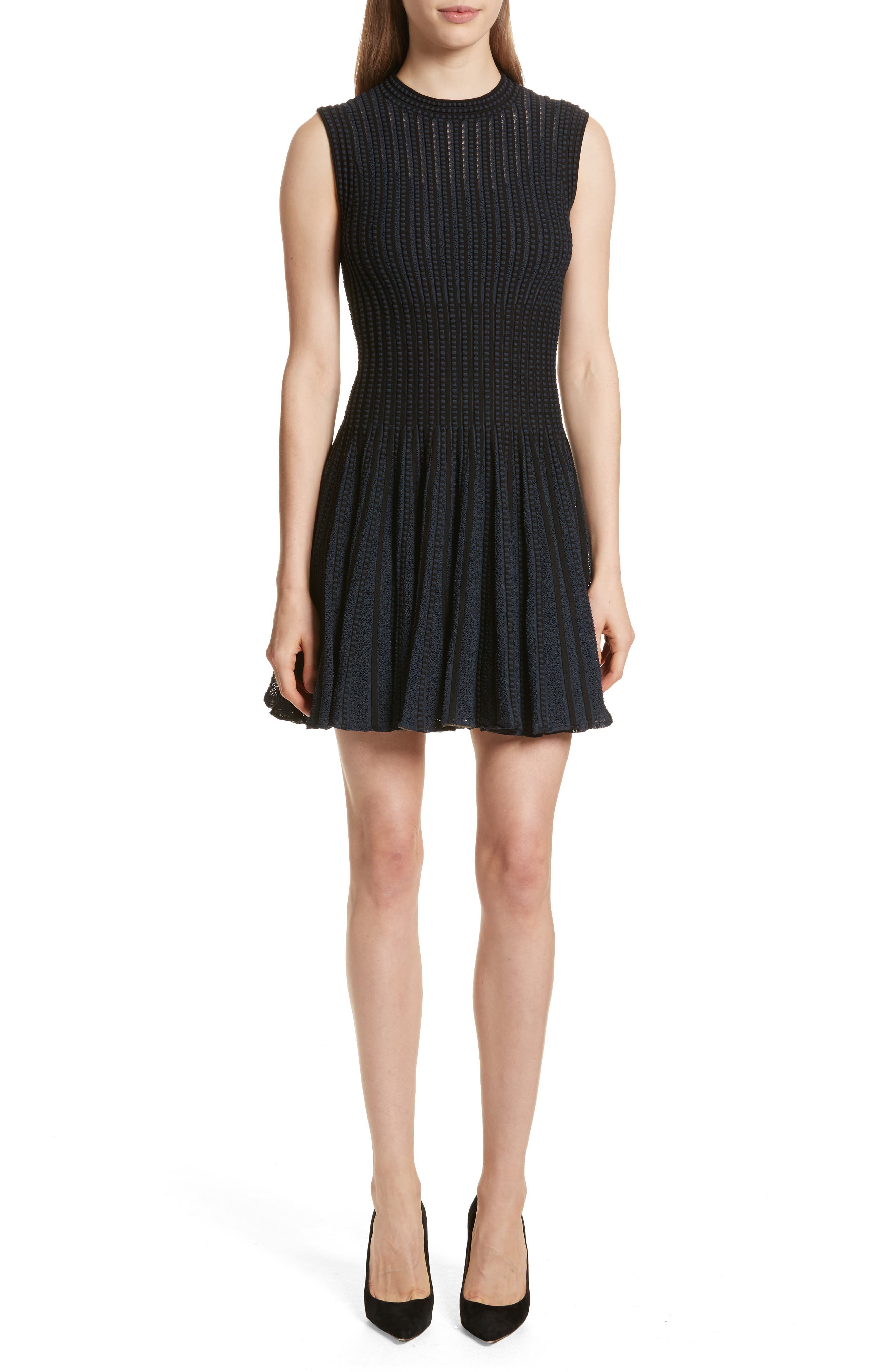 Check Knit Fit & Flare Dress,                         Main,                         color, BLACK/ DEEP NAVY