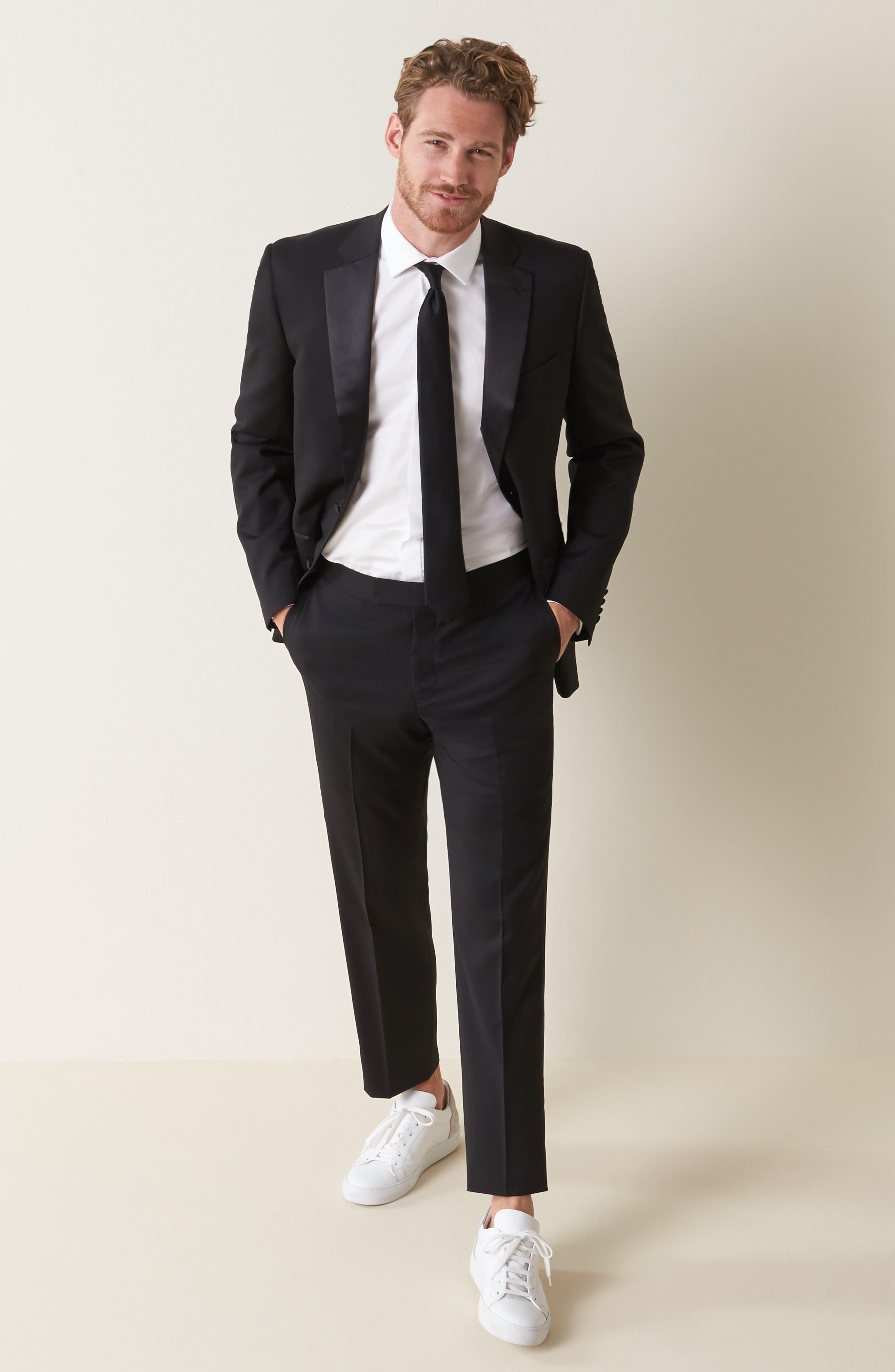 Fedra Trim Fit Tuxedo Shirt,                         Main,                         color, WHITE