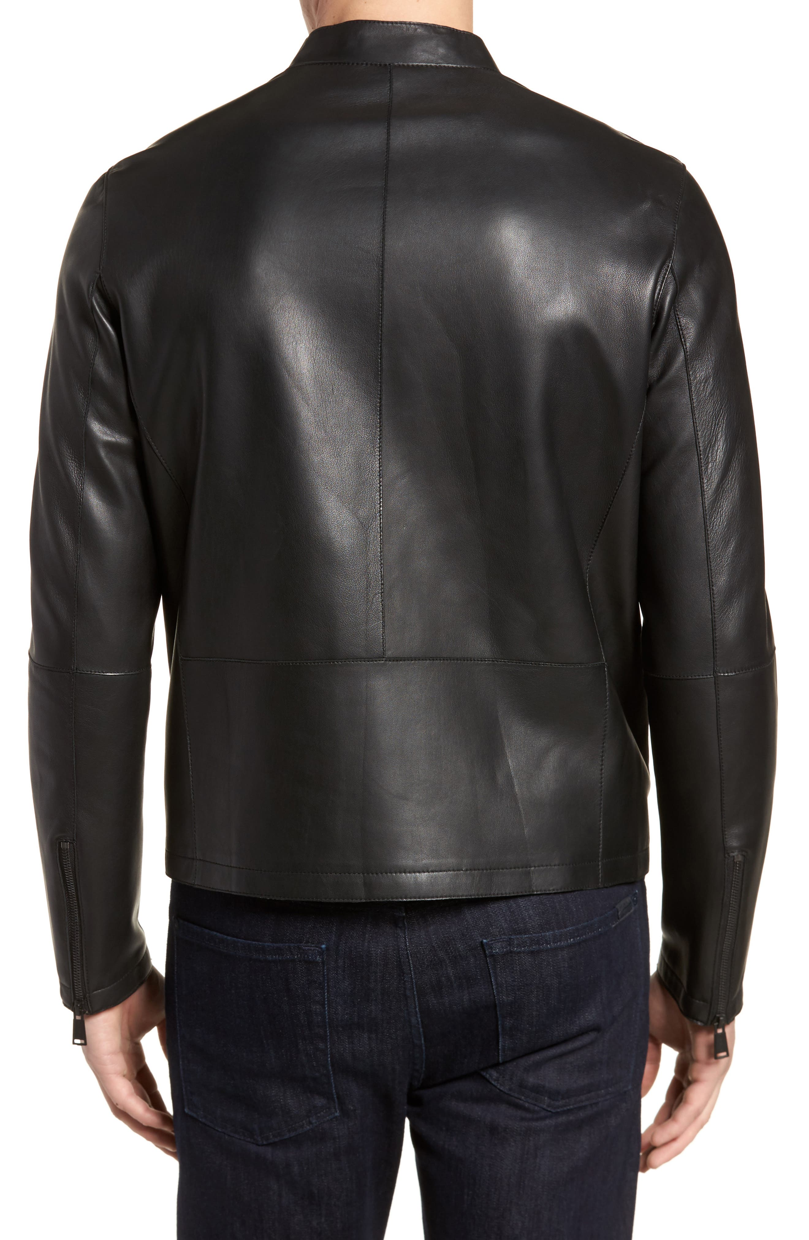 Bonded Leather Jacket,                             Alternate thumbnail 2, color,                             BLACK