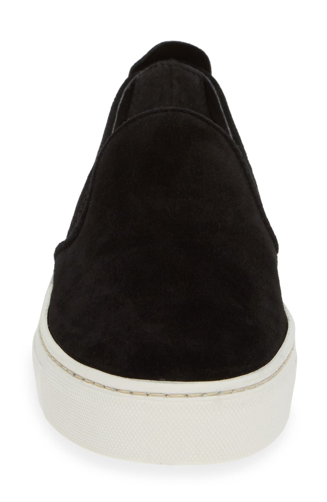 'Sneak Name' Sneaker,                             Alternate thumbnail 4, color,                             BLACK WATERPROOF SUEDE