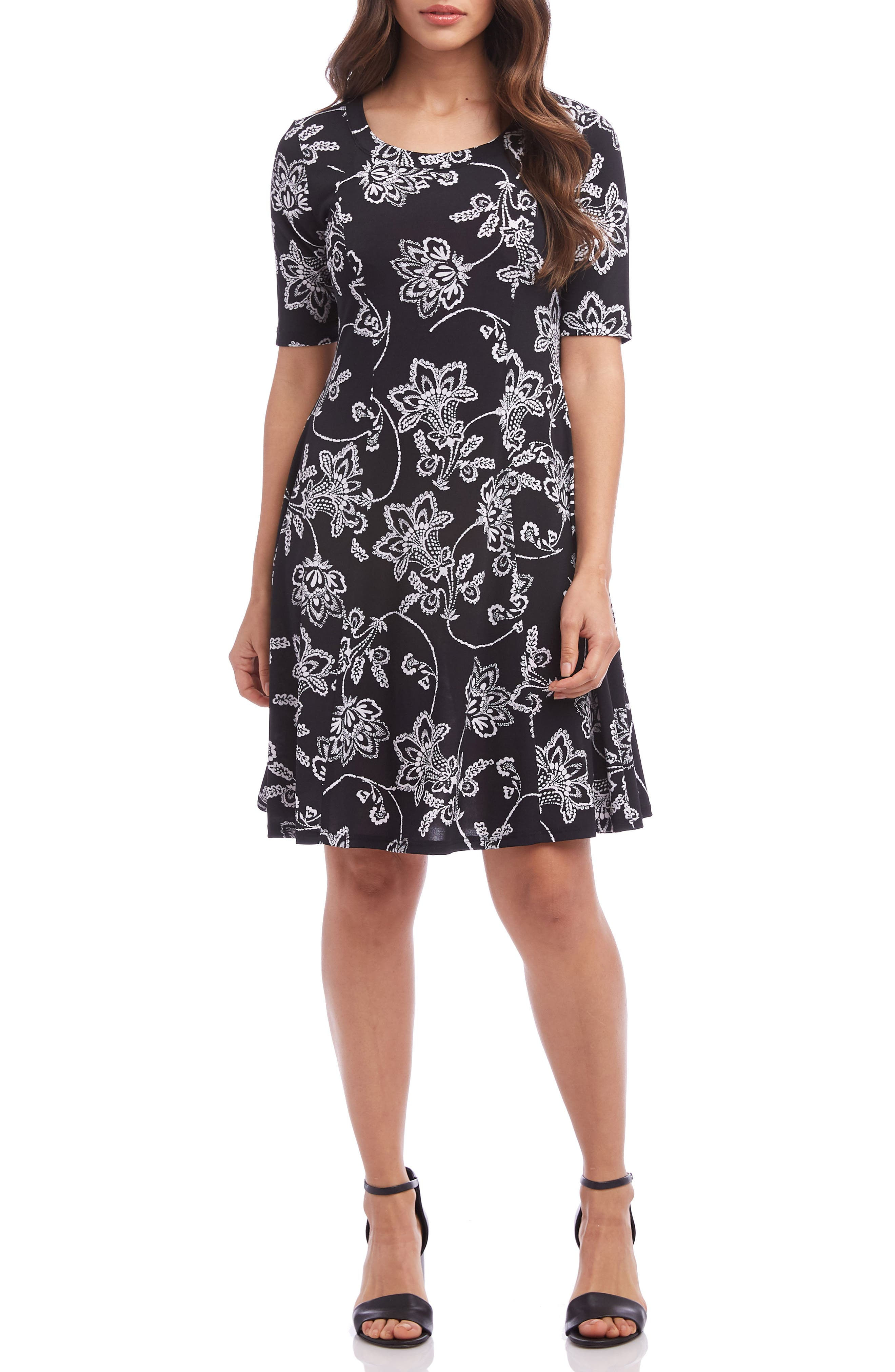 Karen Kane Printed A-Line Dress, Black