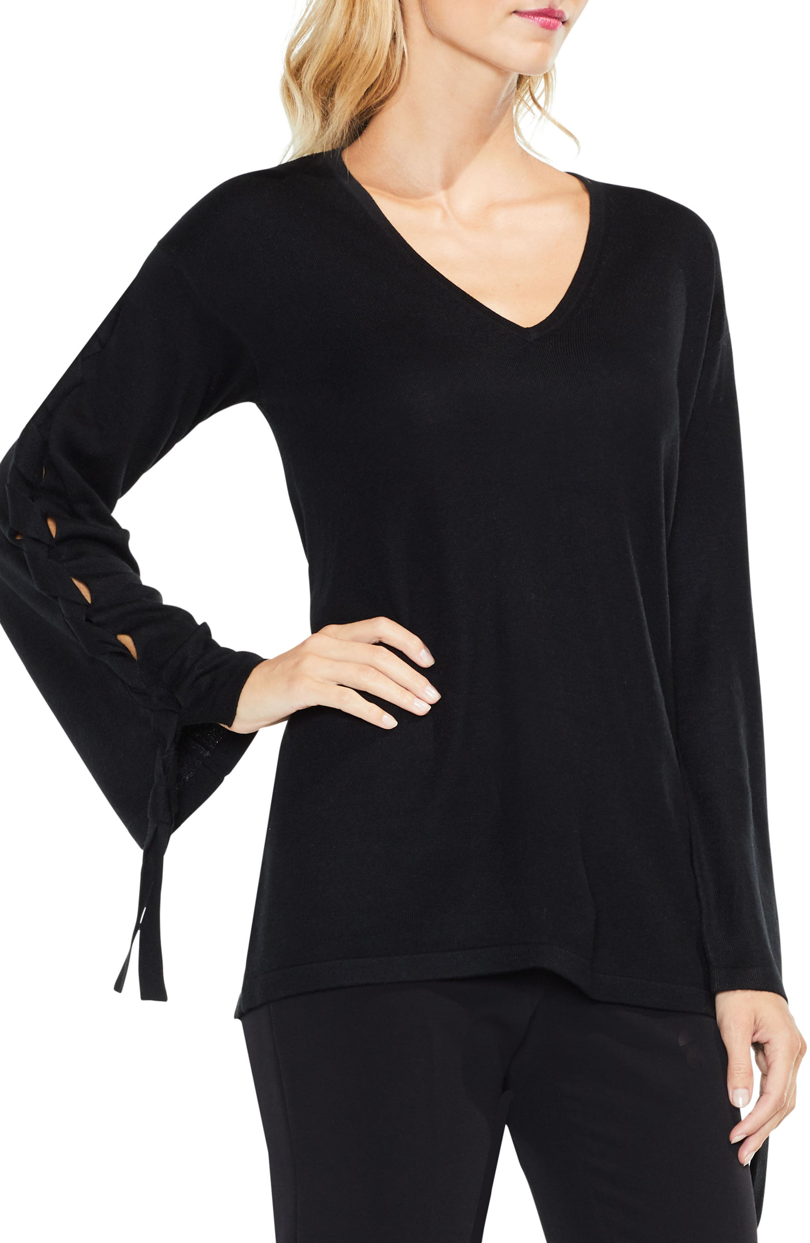 Lace-Up Bell Sleeve Sweater,                         Main,                         color, 006