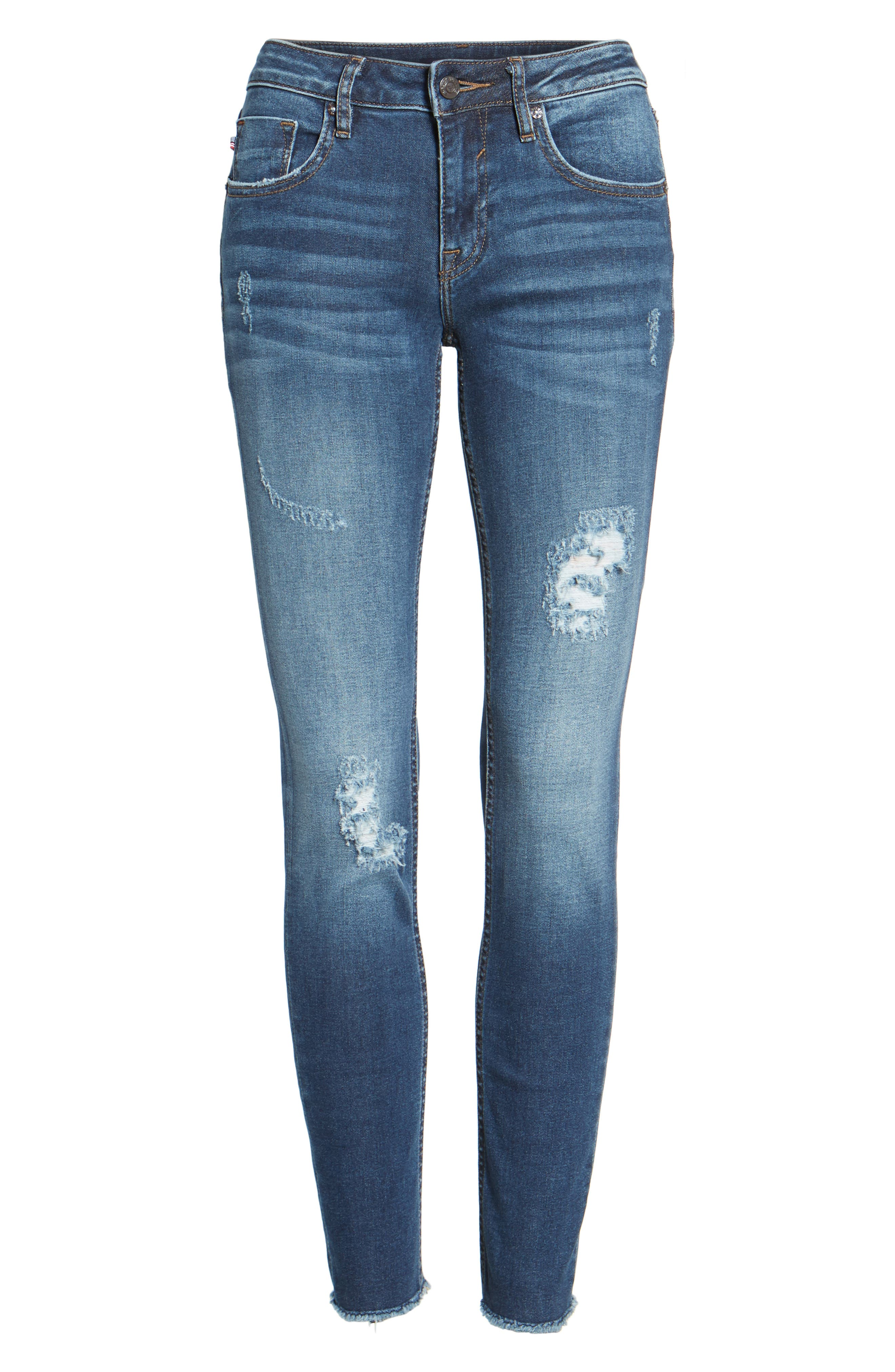 Jagger Distressed Skinny Jeans,                             Alternate thumbnail 6, color,                             403