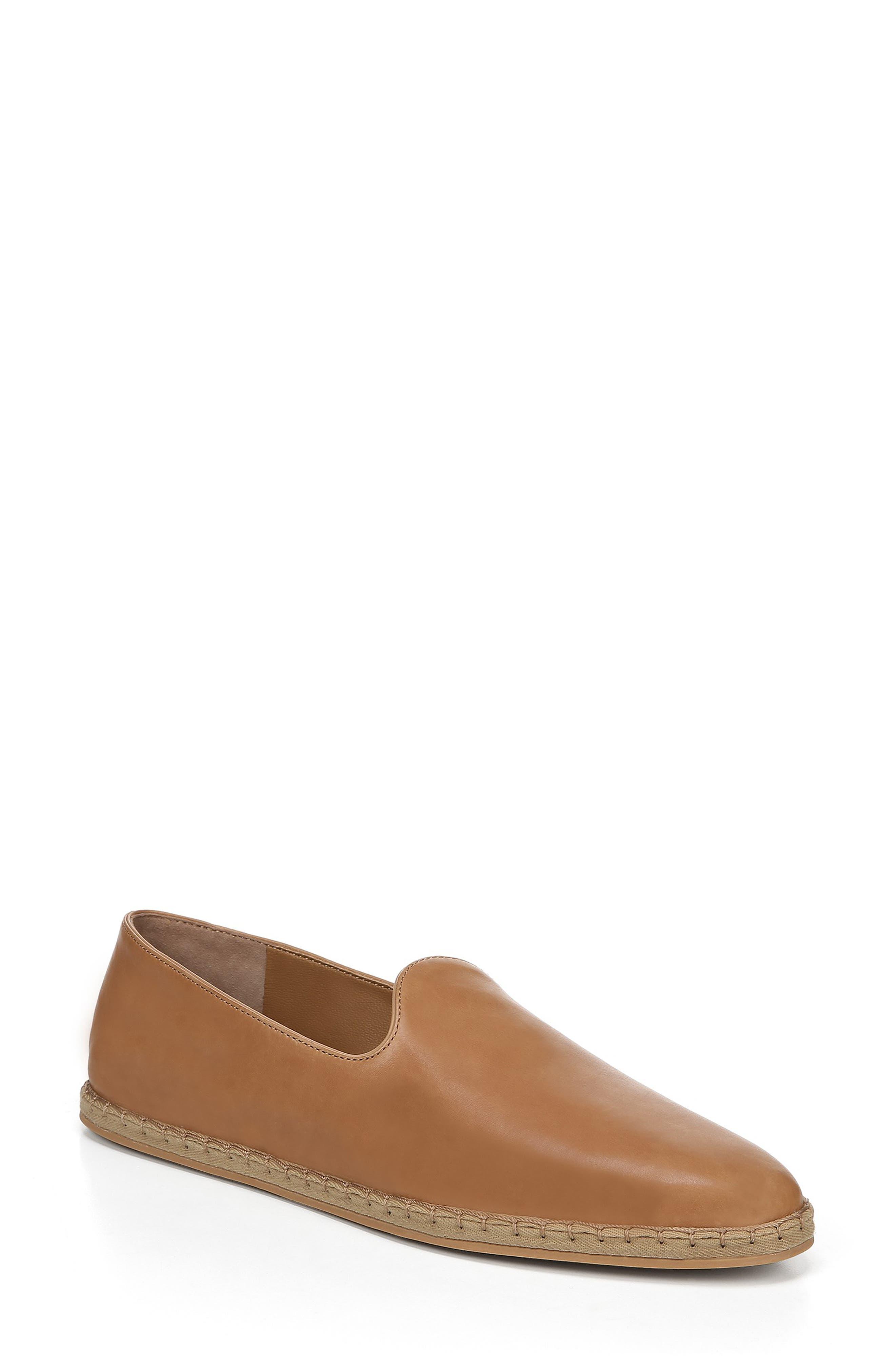 Malia Flat Foulard Leather Espadrille Loafers in Tan Leather