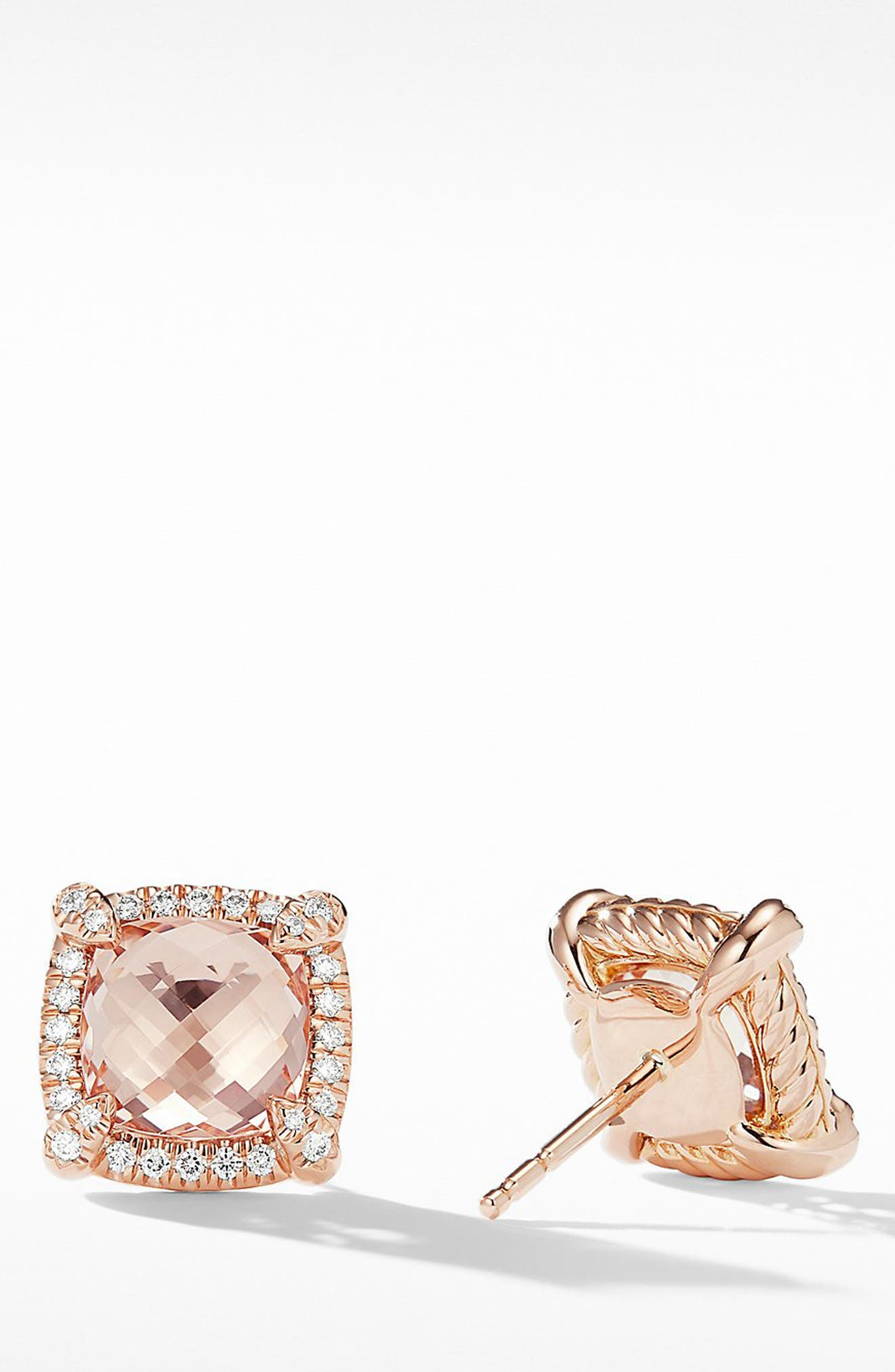 Châtelaine Pavé Bezel Stud Earrings with Morganite and Diamonds in 18K Rose Gold,                             Alternate thumbnail 2, color,                             ROSE GOLD/ DIAMOND/ MORGANITE