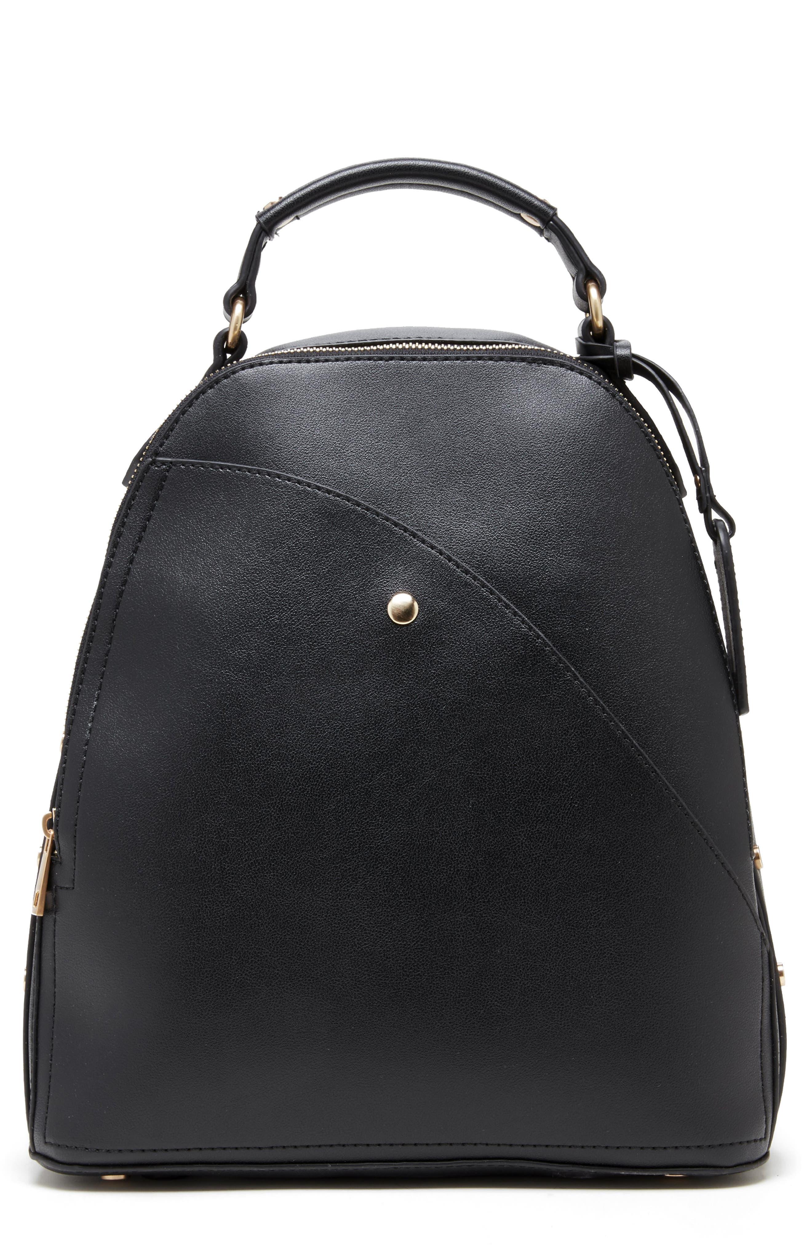 Hingi Faux Leather Backpack,                         Main,                         color, BLACK