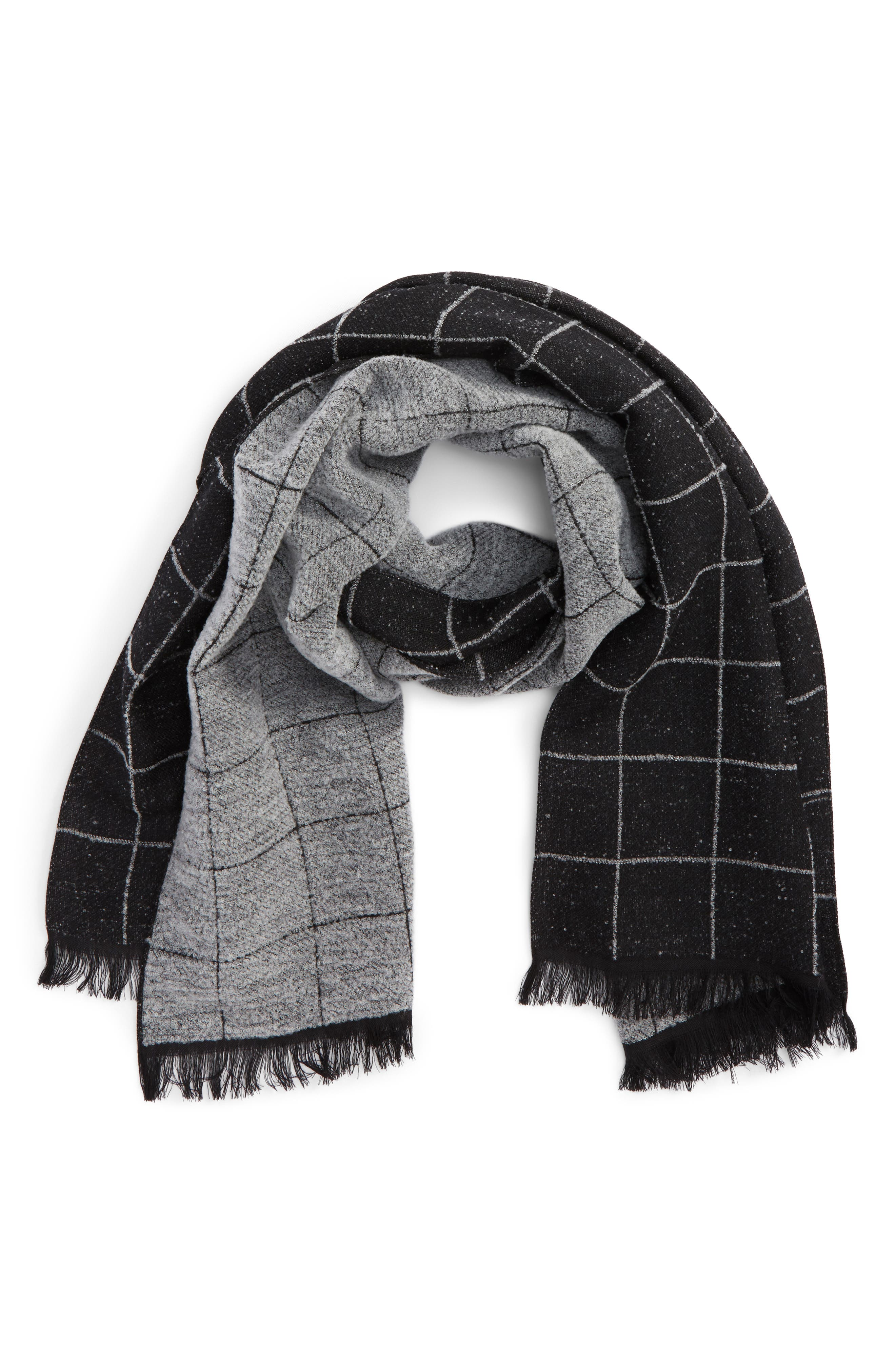 Windowpane Wool Blend Scarf,                         Main,                         color, 001