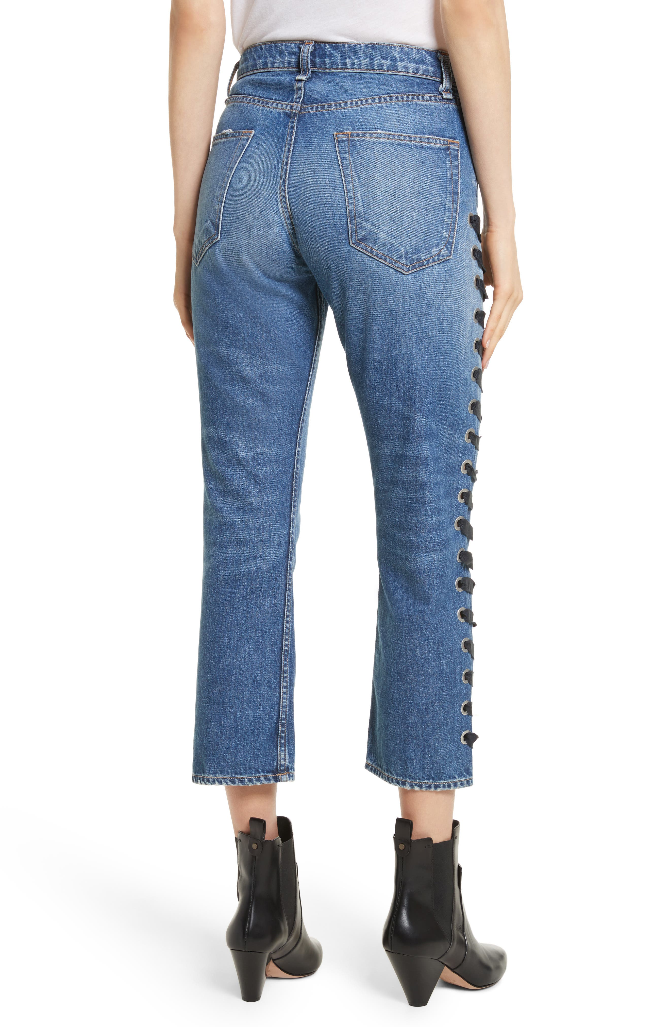 Ines Lace-Up Crop Girlfriend Jeans,                             Alternate thumbnail 2, color,                             400