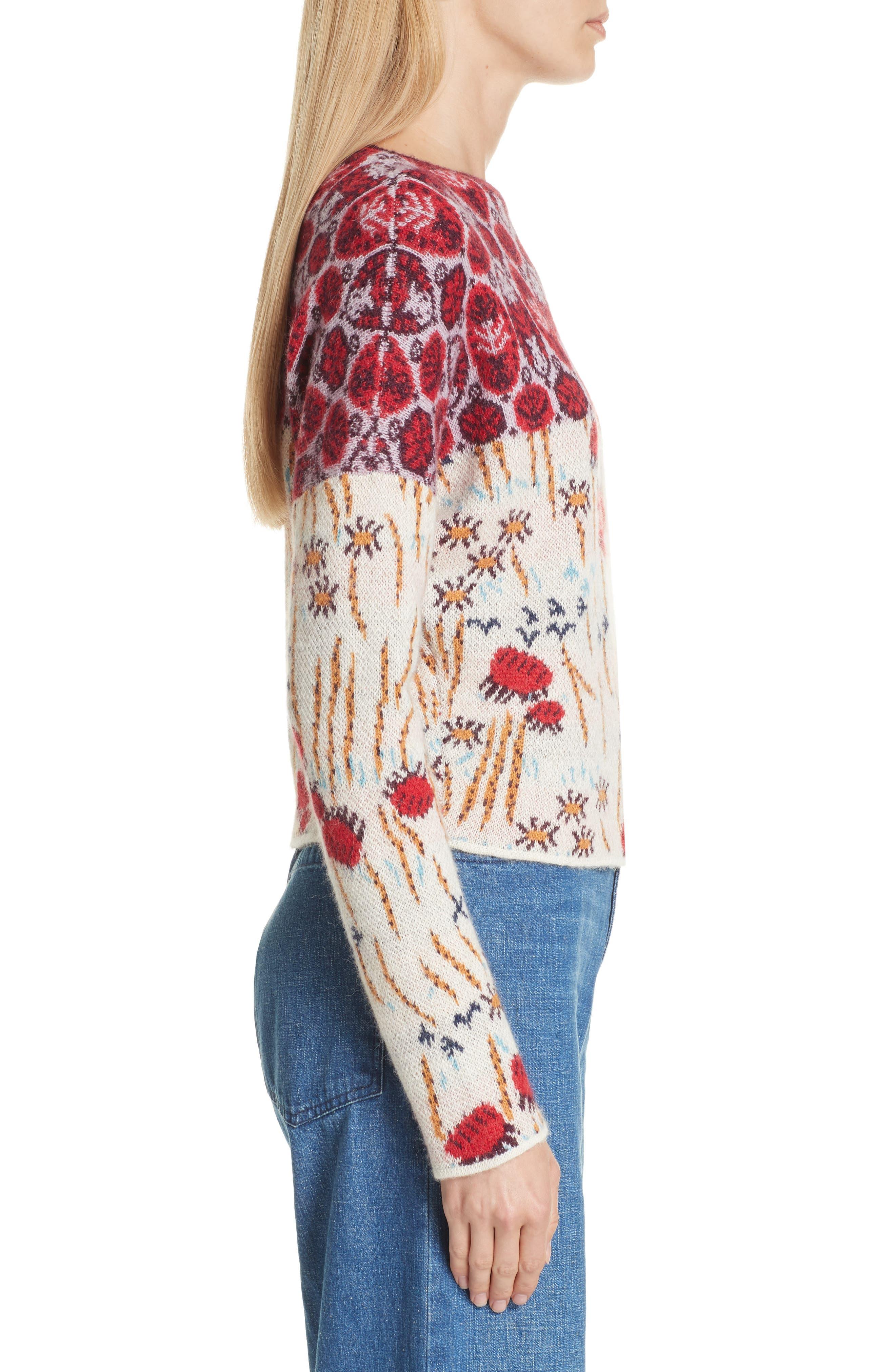 Adieu Jacquard Alpaca Sweater,                             Alternate thumbnail 3, color,                             WHITE