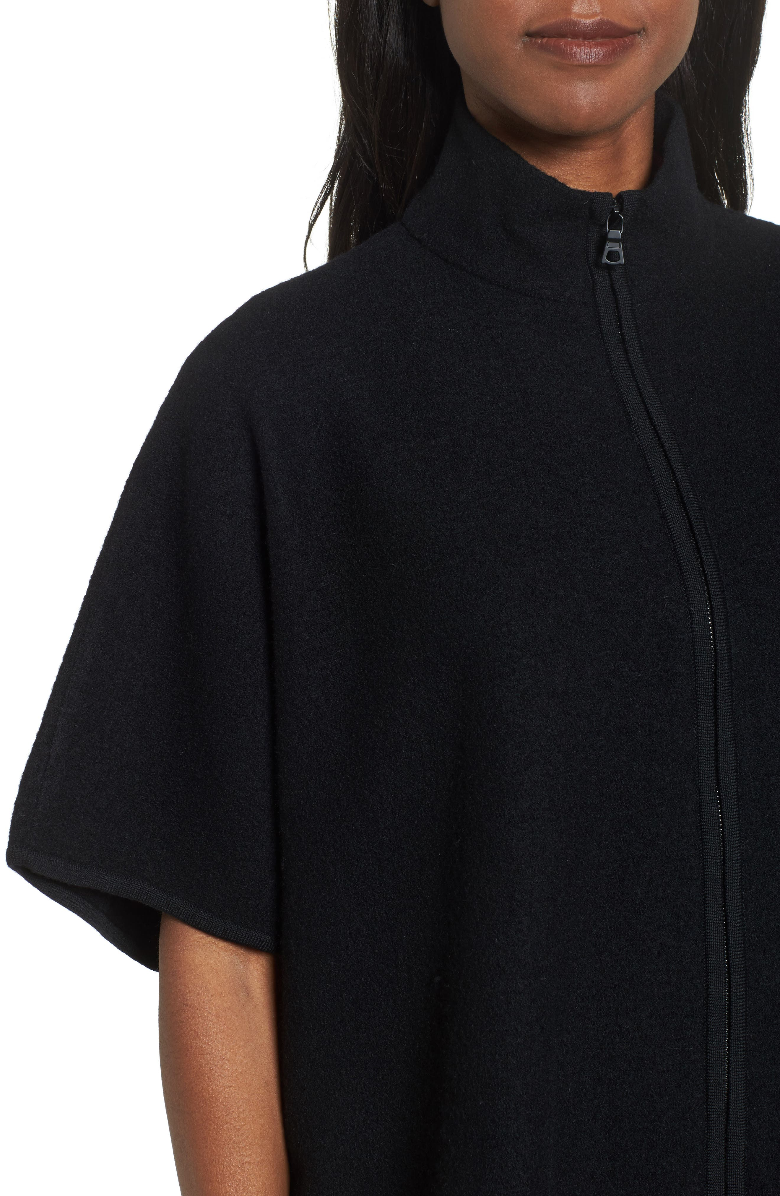 Zip Front Boiled Wool Cape,                             Alternate thumbnail 4, color,                             001