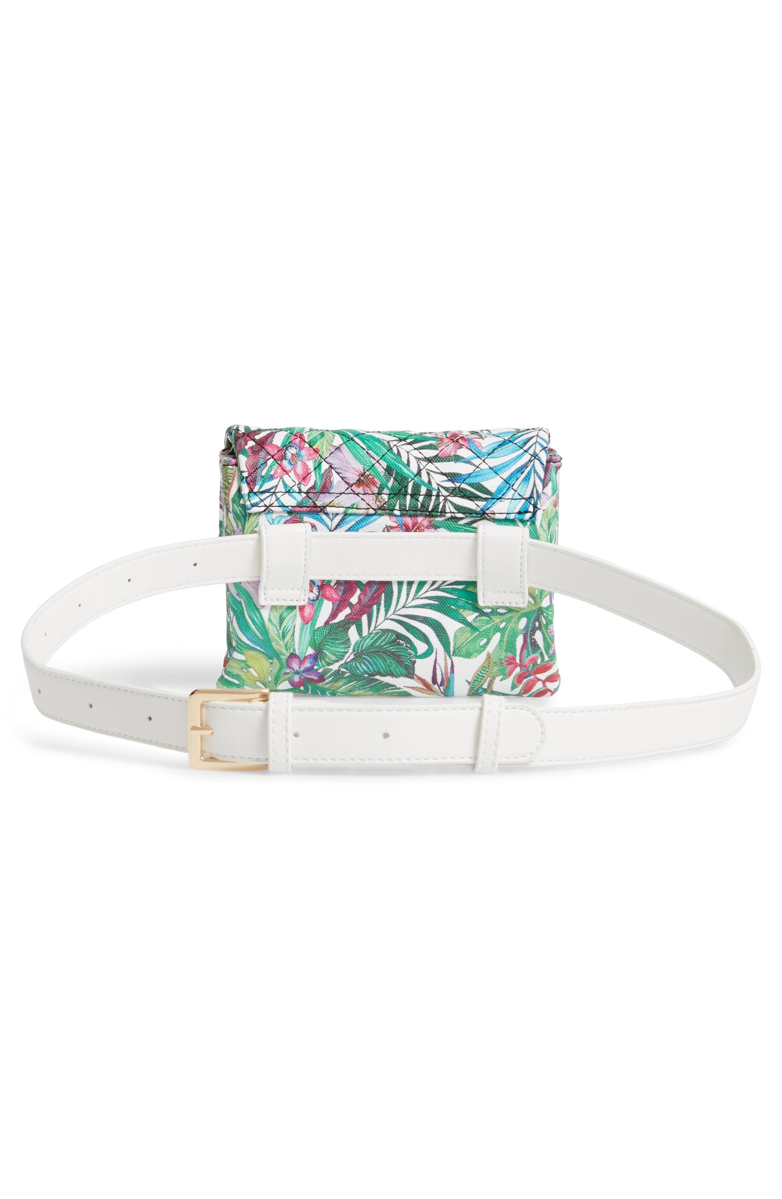 MALI + LILI,                             Quilted Vegan Leather Belt Bag,                             Alternate thumbnail 5, color,                             WHITE FLORAL