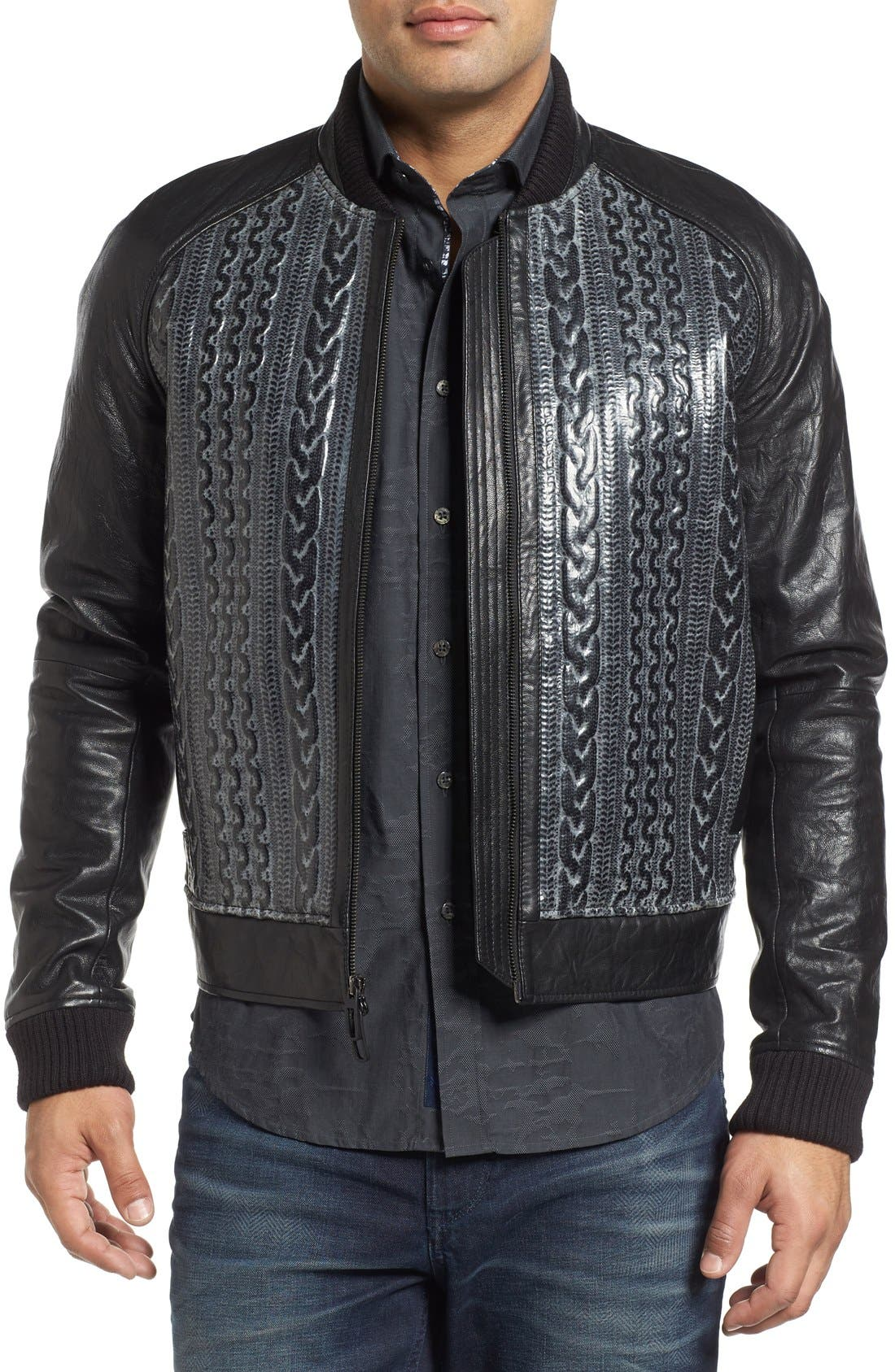 ROBERT GRAHAM,                             Romulus Goatskin Leather Jacket,                             Main thumbnail 1, color,                             001